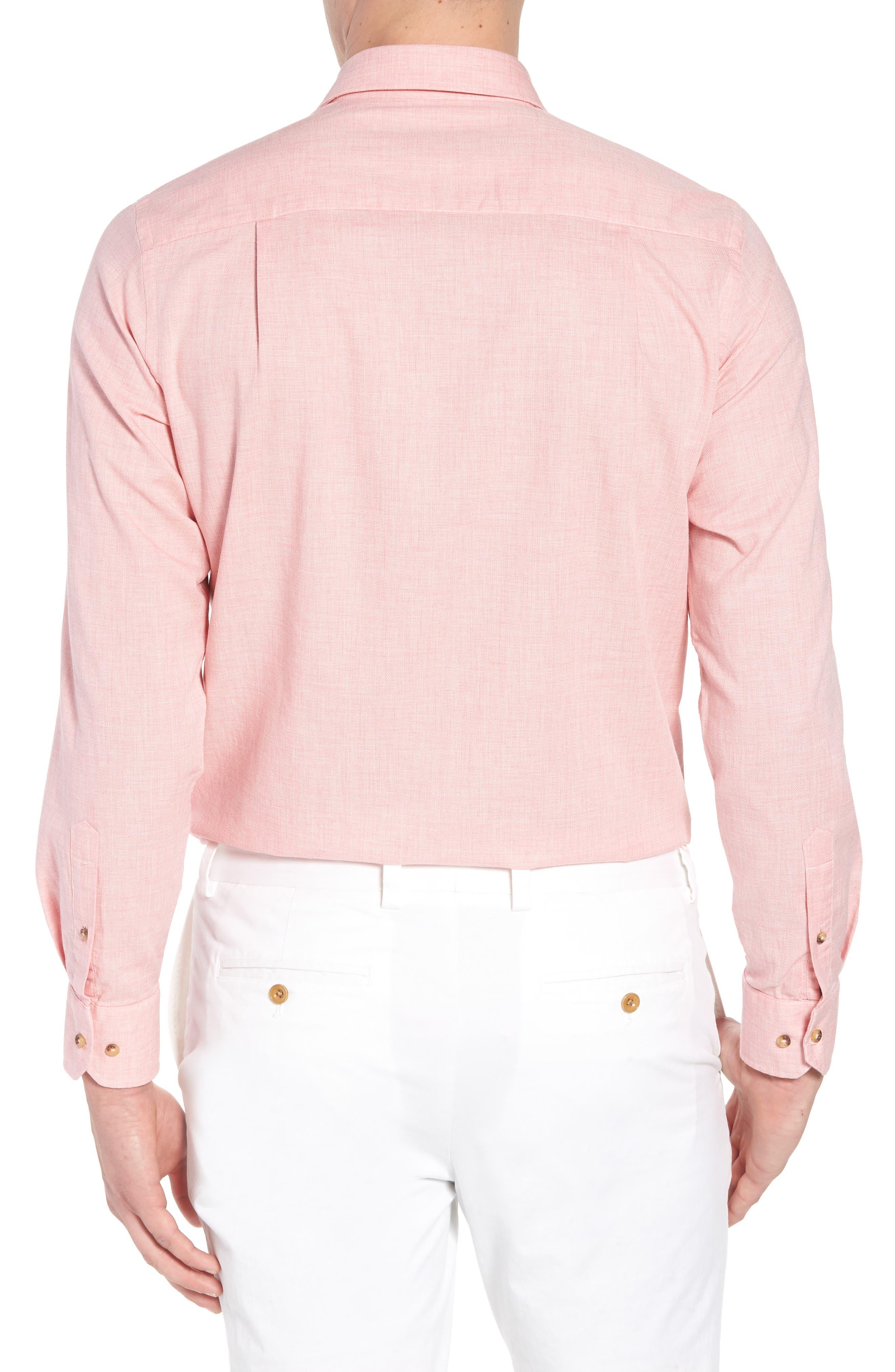 Regular Fit Garment Washed Mélange Sport Shirt,                             Alternate thumbnail 2, color,                             Pink