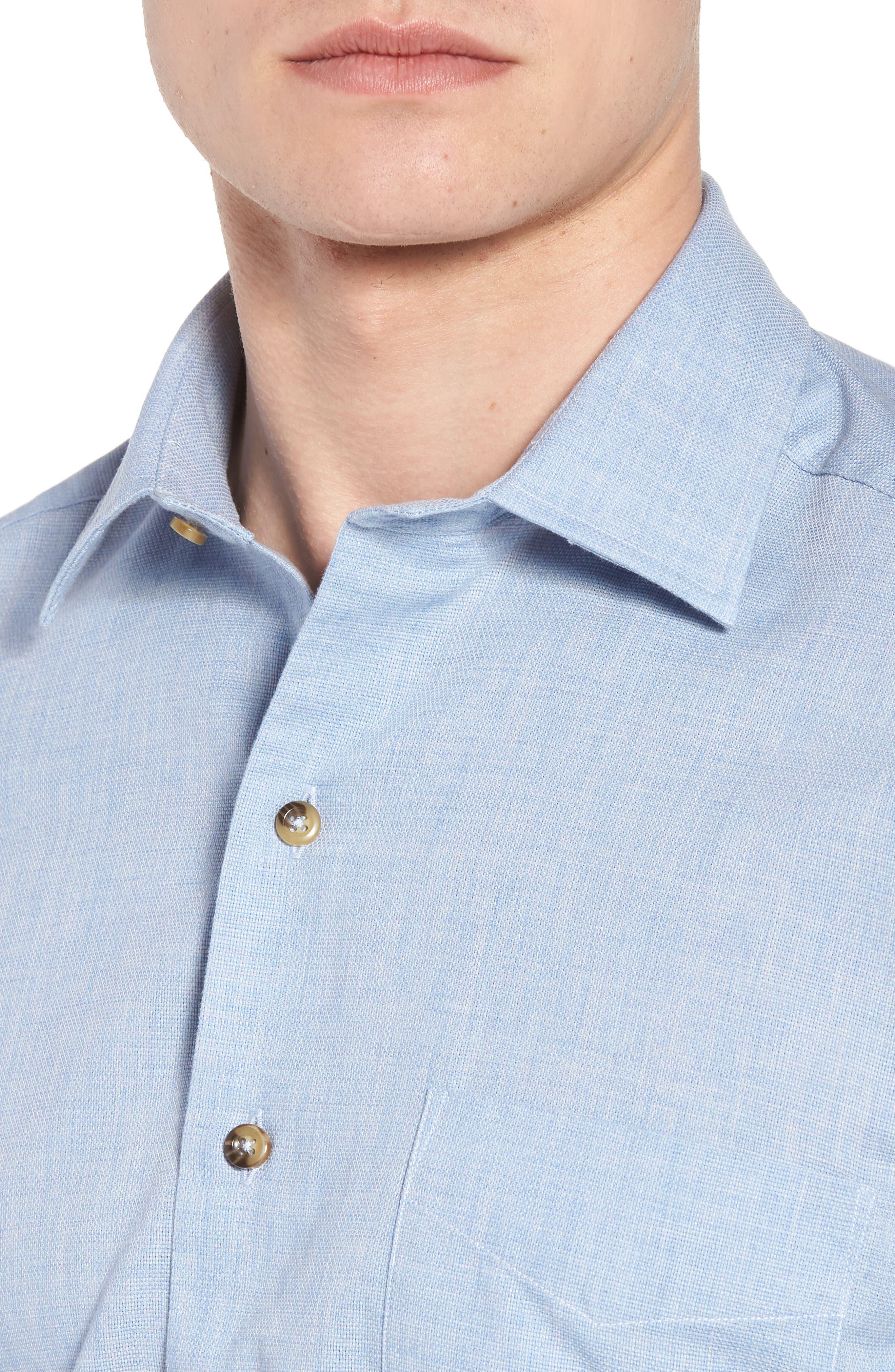 Regular Fit Garment Washed Mélange Sport Shirt,                             Alternate thumbnail 4, color,                             Sky