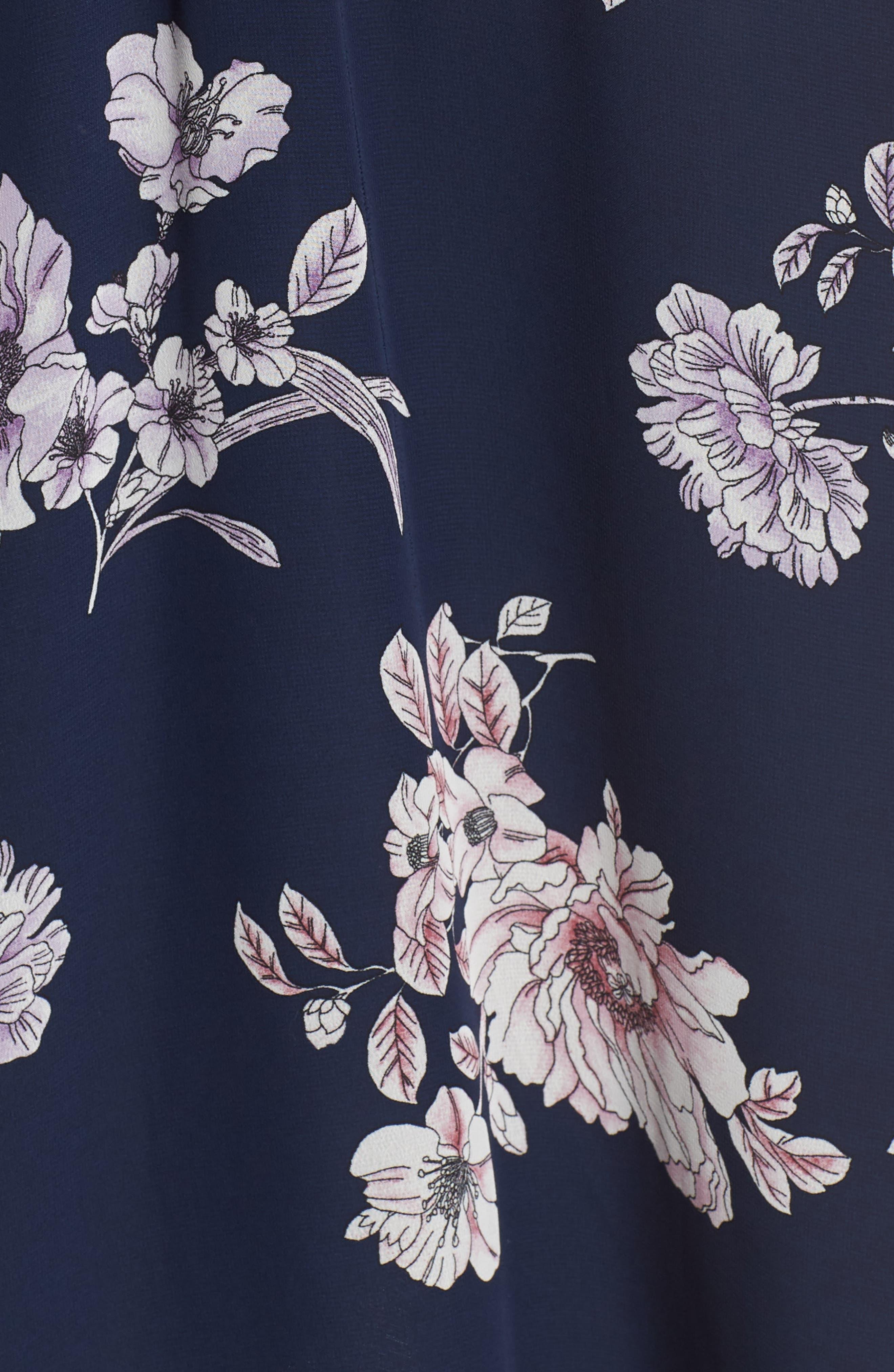Floral Blouson Midi Dress,                             Alternate thumbnail 5, color,                             Navy