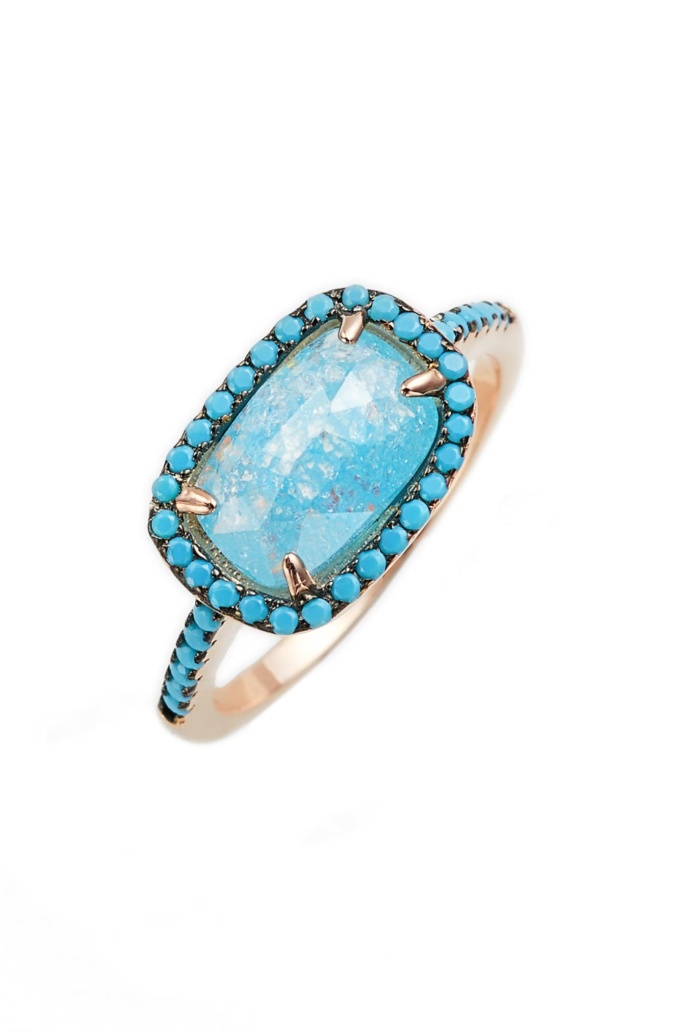 Crystal & Turquoise Ring,                         Main,                         color, Rose Gold