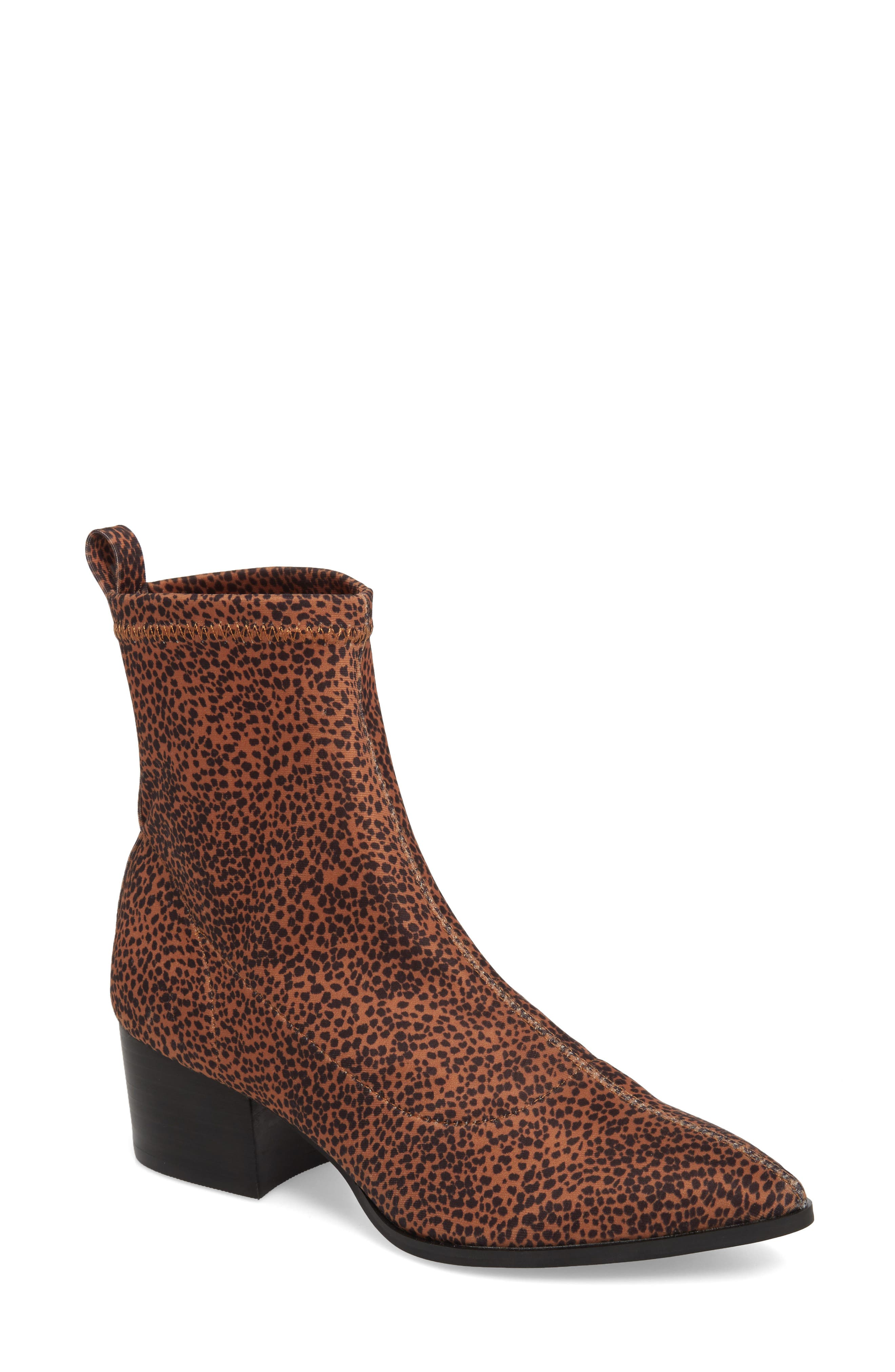Amuse Society x Matisse Liliana Sock Bootie,                             Main thumbnail 1, color,                             Brown Stretch Fabric