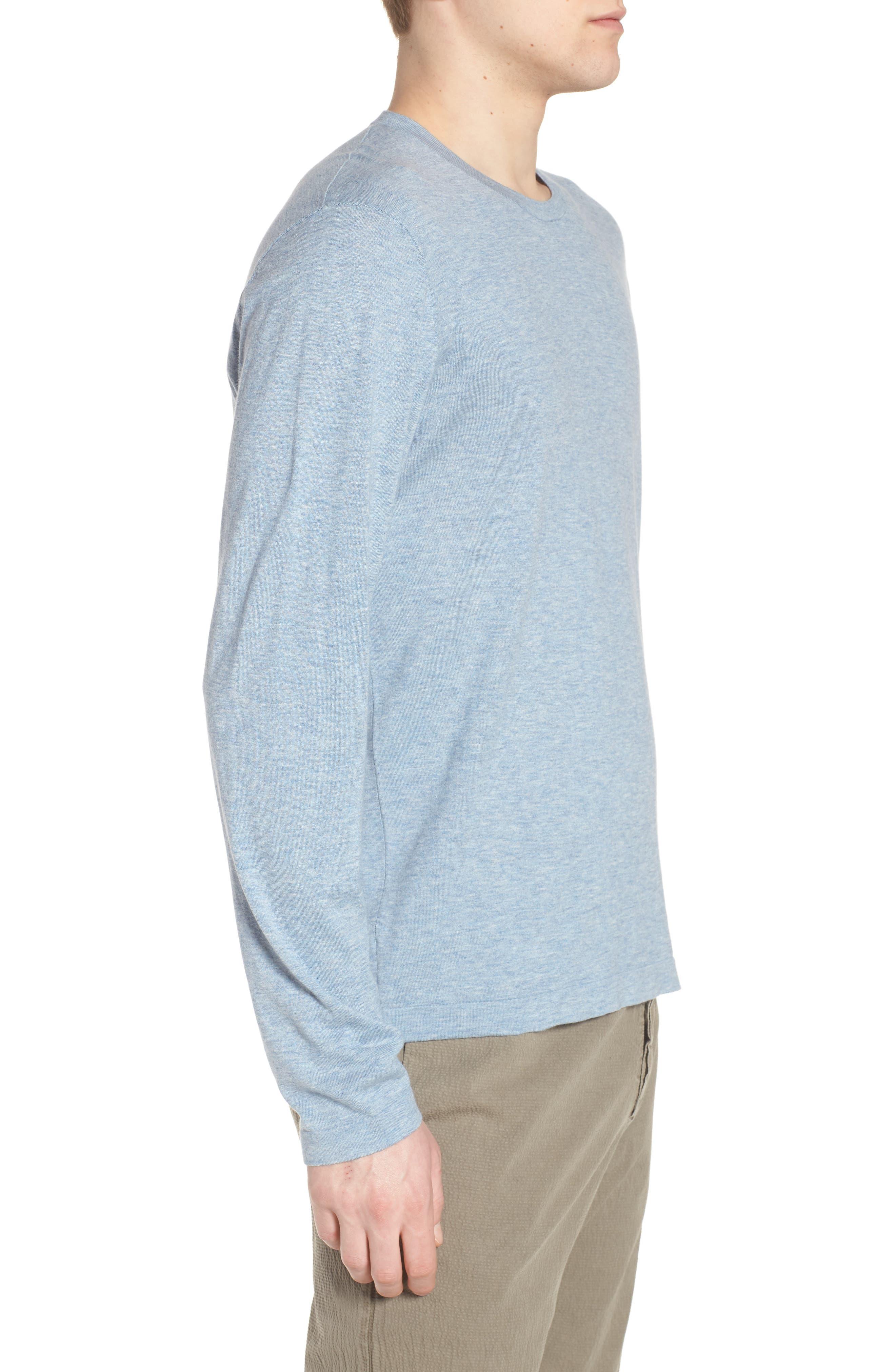 Fine Gauge Crewneck Sweater,                             Alternate thumbnail 3, color,                             Heather Sky Blue