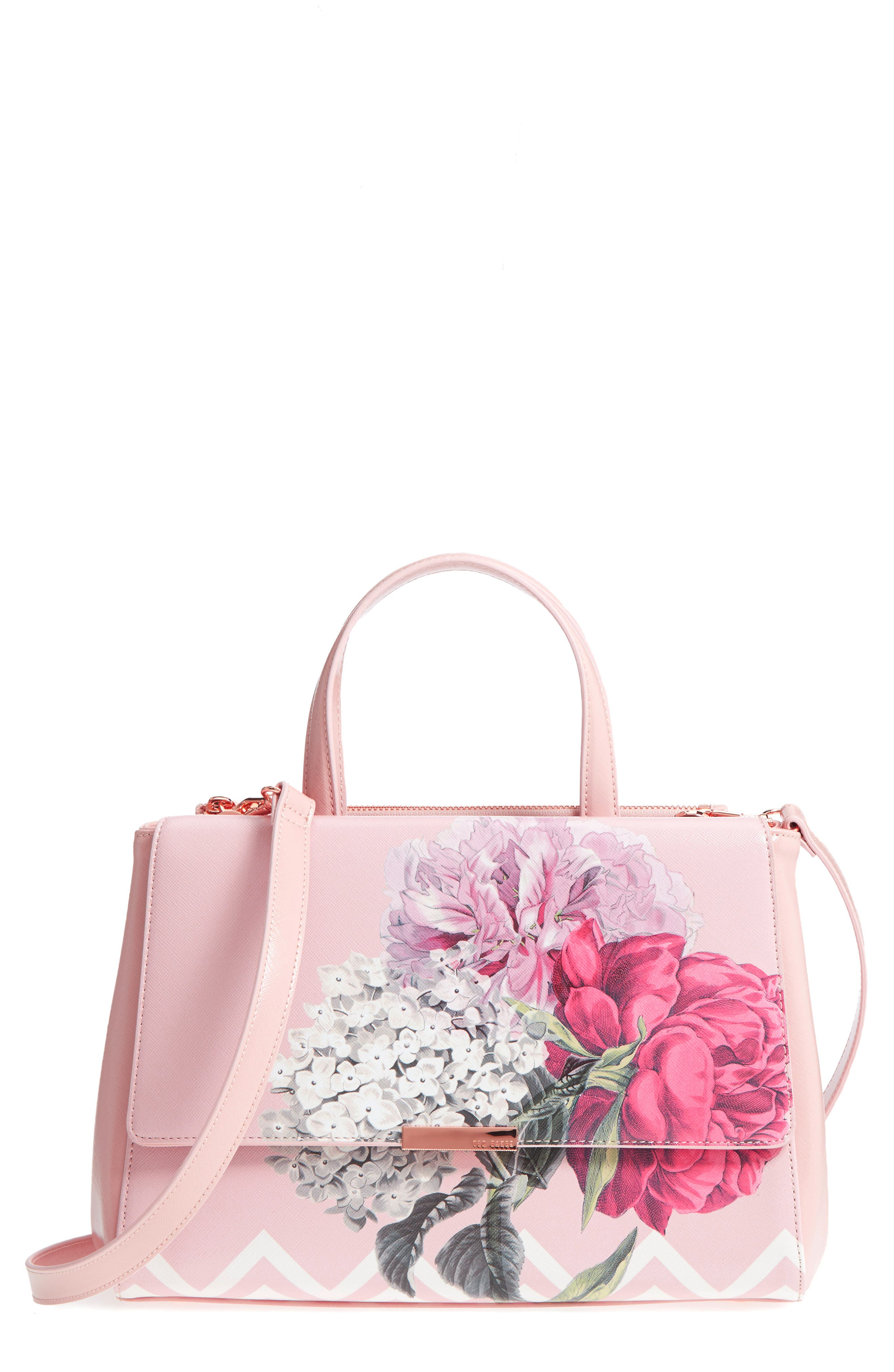 Tecoma Palace Gardens Faux Leather Tote,                             Main thumbnail 1, color,                             Dusky Pink