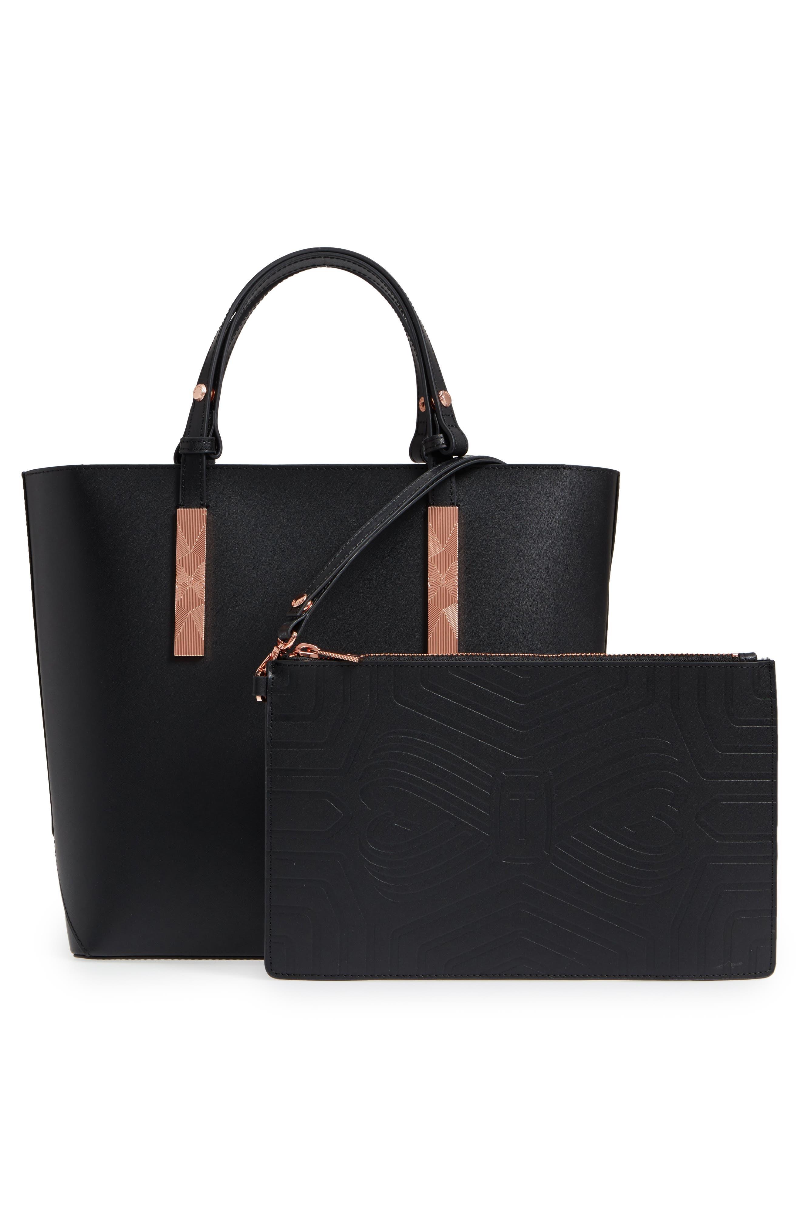 Jaceyy Adjustable Handle Leather Shopper,                             Alternate thumbnail 3, color,                             Black
