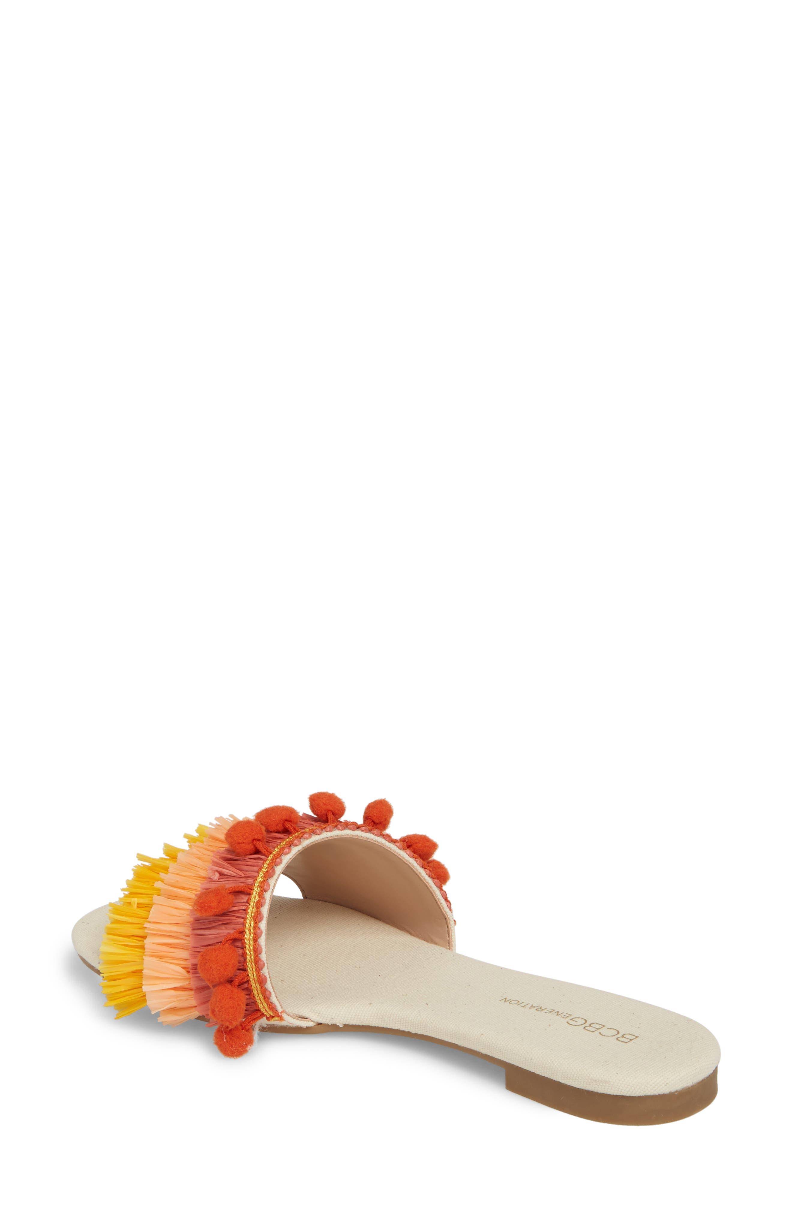 Genna Raffia Tier Slide Sandal,                             Alternate thumbnail 2, color,                             Marigold/ Rust