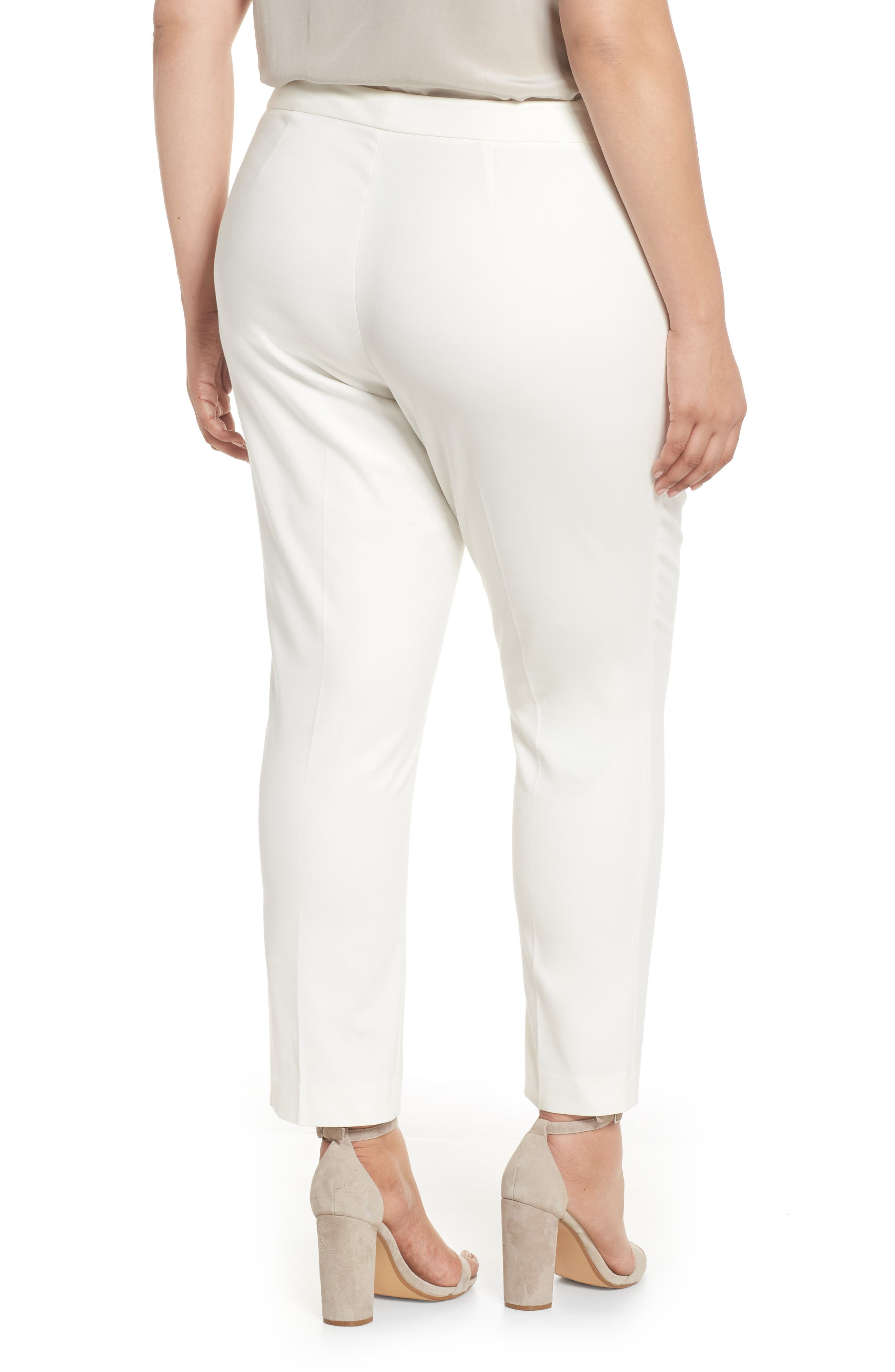 Stretch Cotton Blend Ankle Pants,                             Alternate thumbnail 2, color,                             New Ivory