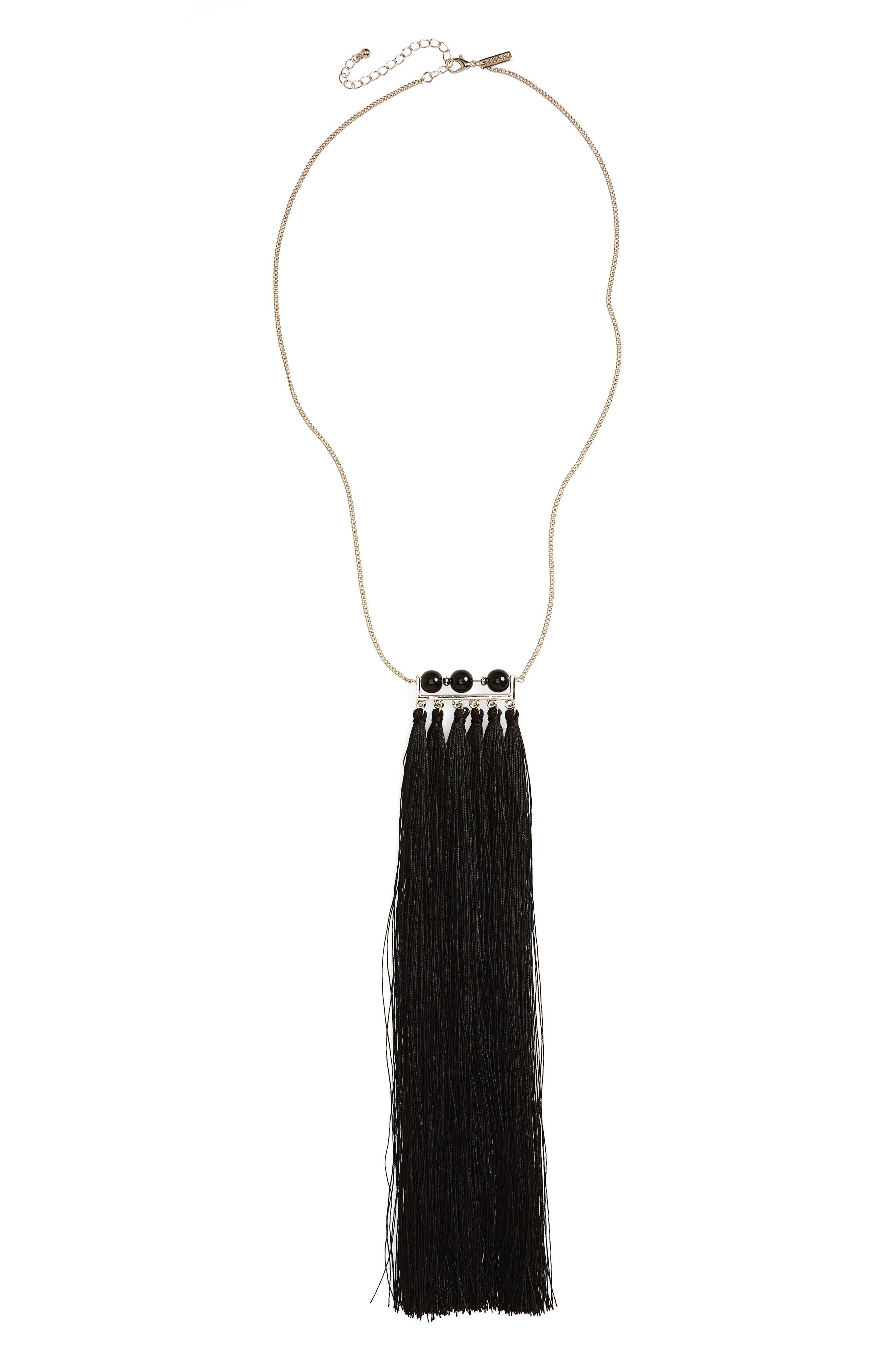 Tassel Bar Pendant Necklace,                         Main,                         color, Black
