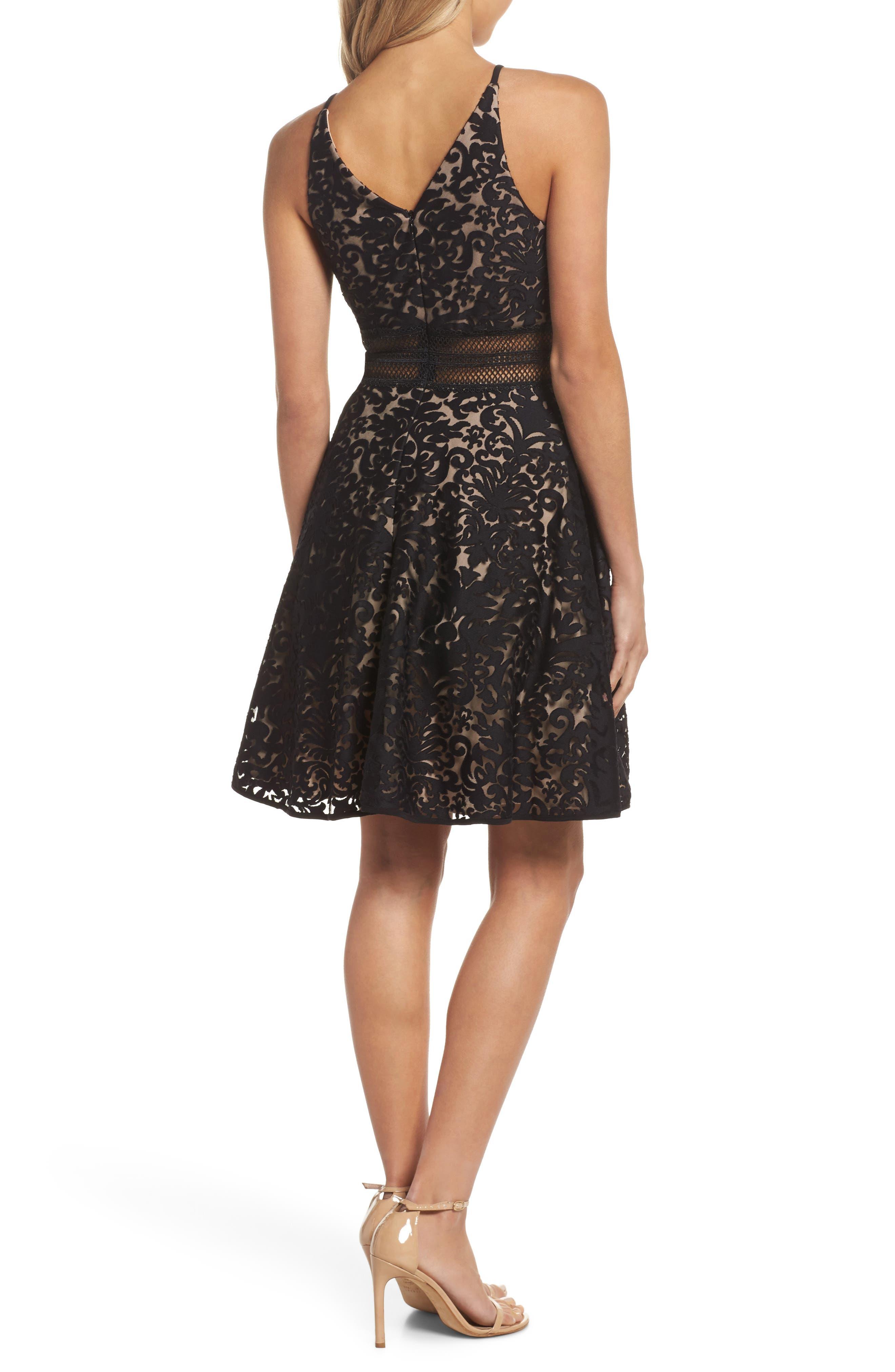 Lace Fit & Flare Dress,                             Alternate thumbnail 2, color,                             Black/ Nude