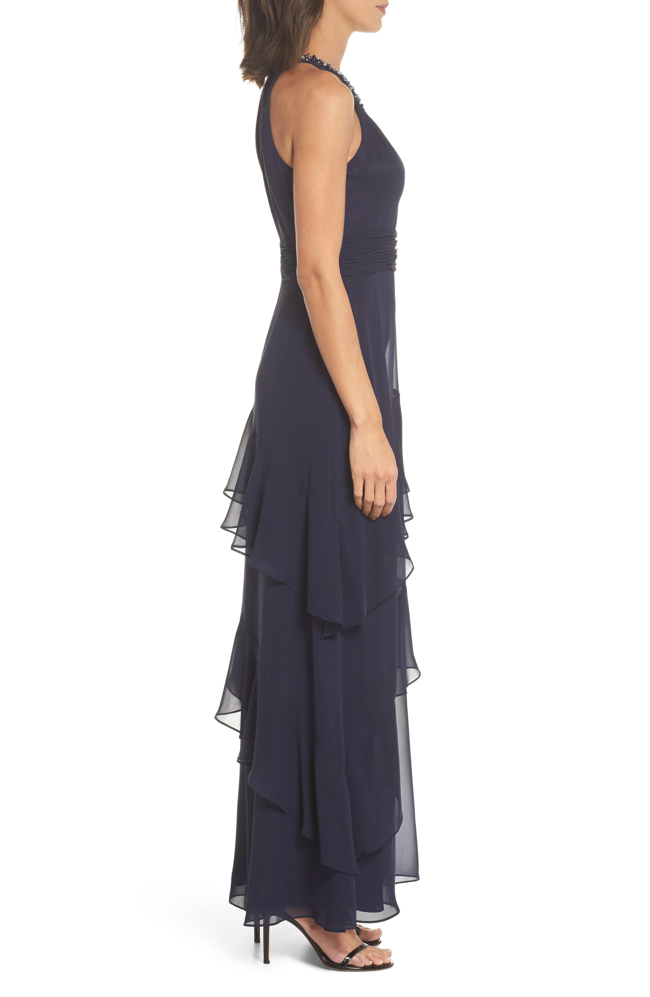 Beaded Halter Tiered Chiffon Gown,                             Alternate thumbnail 3, color,                             Navy