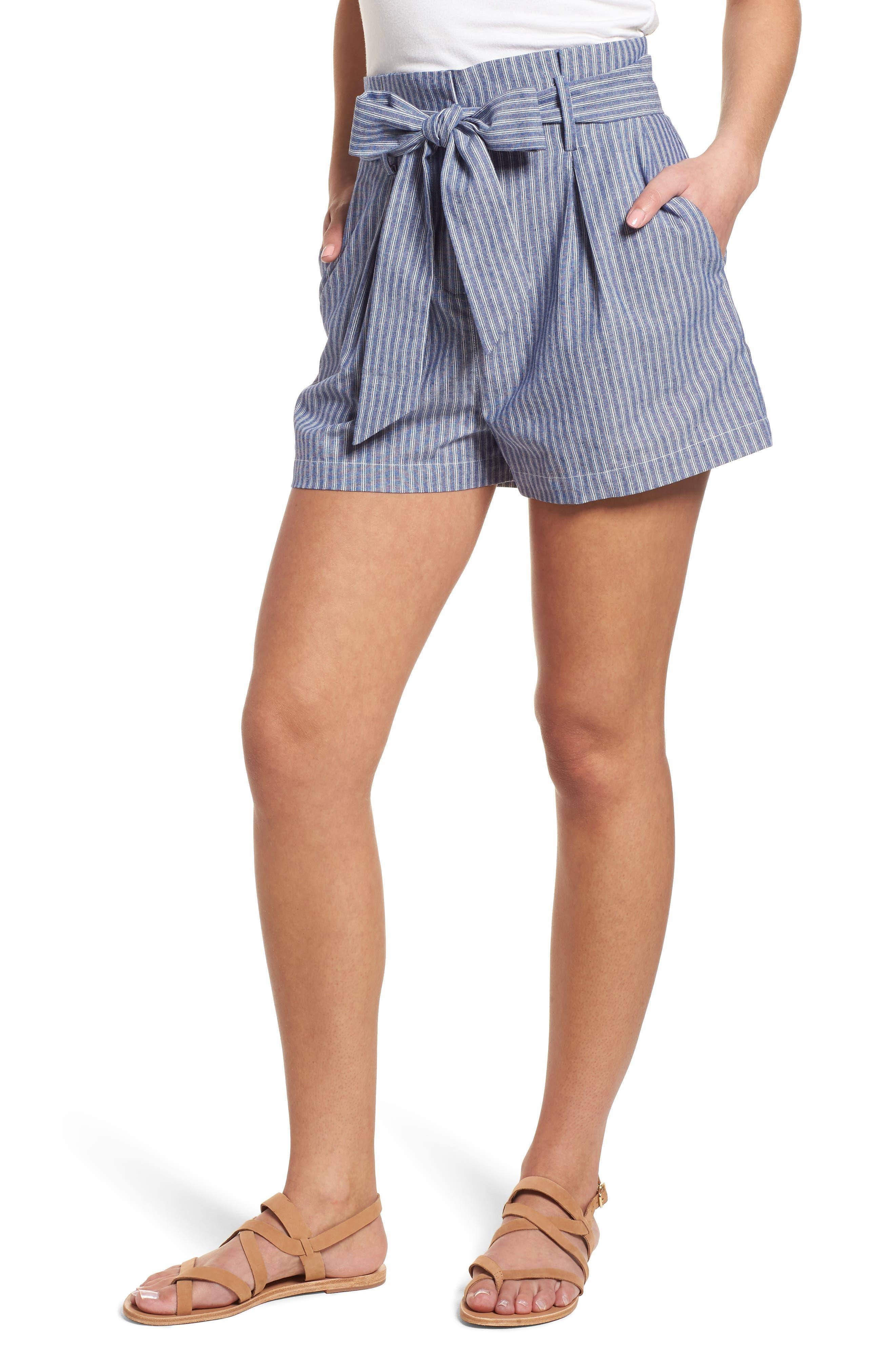 Paperbag Waist Stripe Shorts,                             Main thumbnail 1, color,                             Chambray Blue