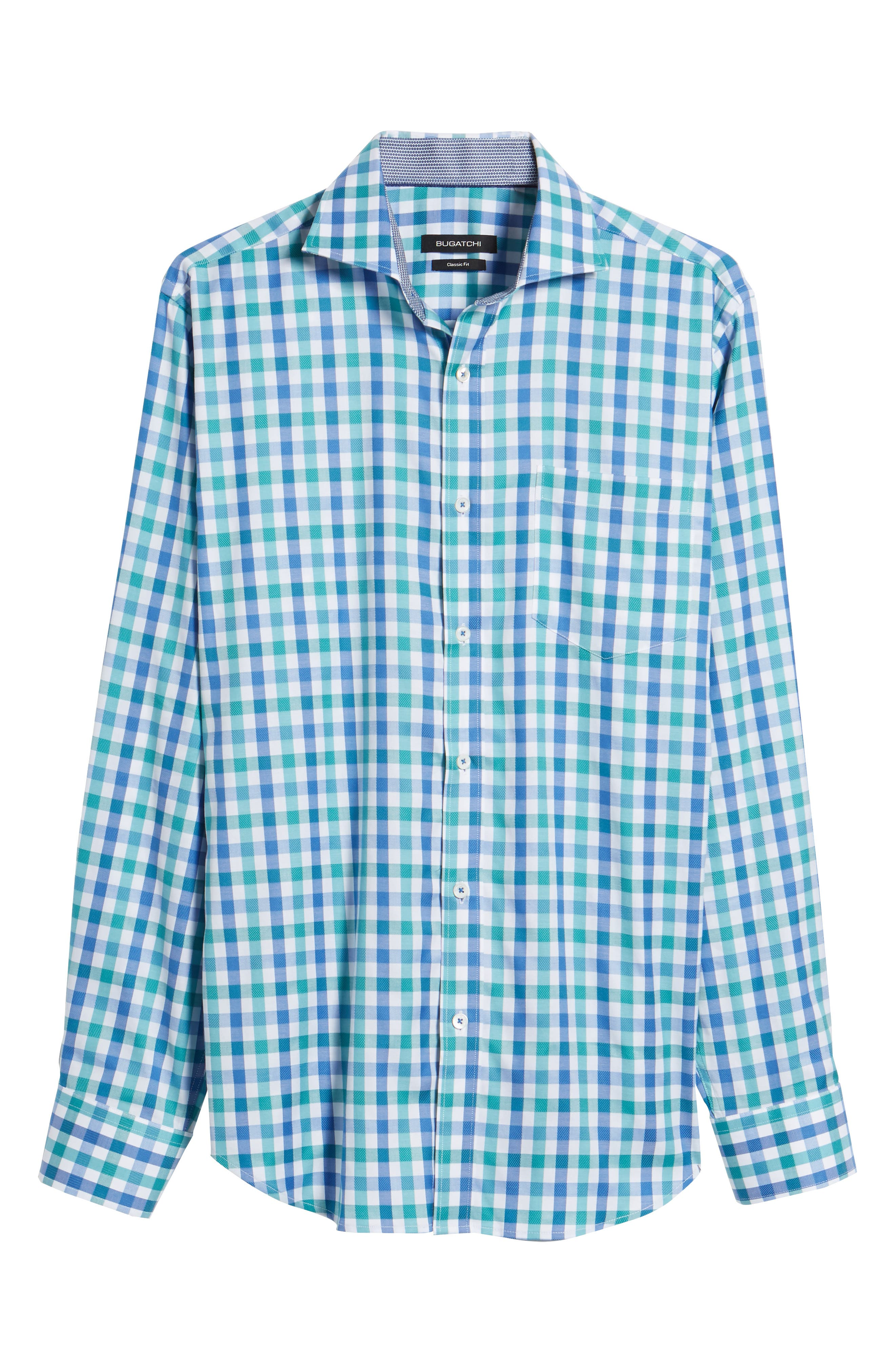Classic Fit Gingham Check Sport Shirt,                             Alternate thumbnail 6, color,                             Emerald