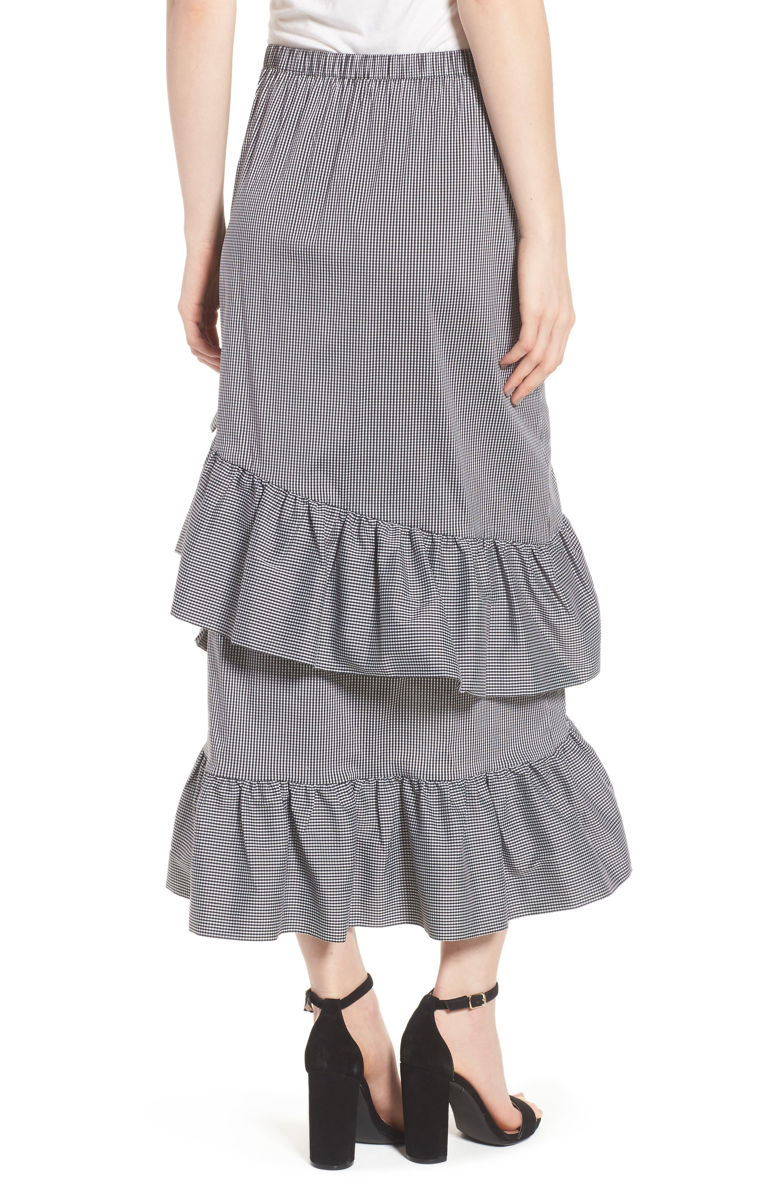 Gingham Ruffle Skirt,                             Alternate thumbnail 2, color,                             Black- White Mini Gingham