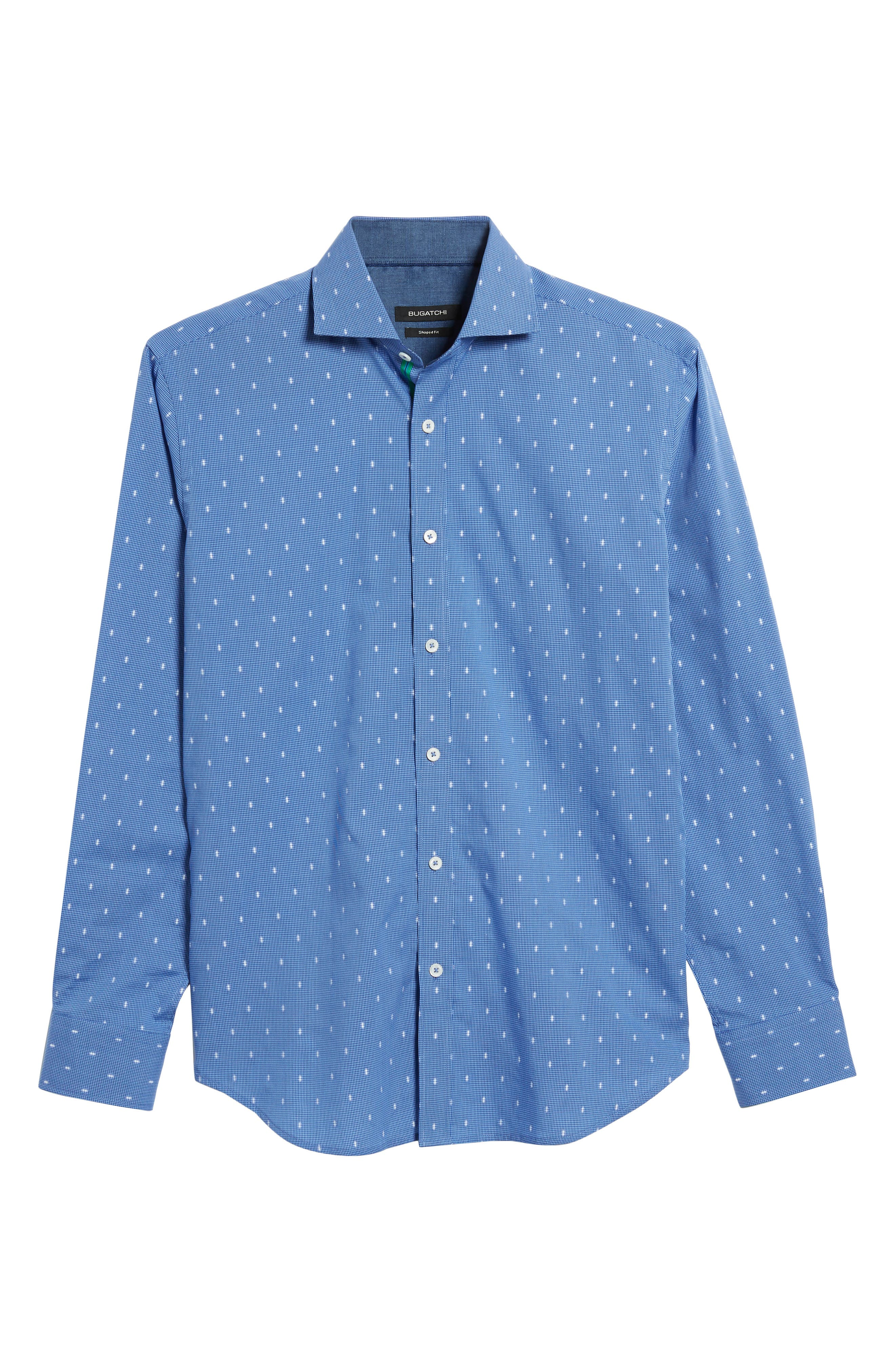 Shaped Fit Pin Check Sport Shirt,                             Alternate thumbnail 6, color,                             Classic Blue