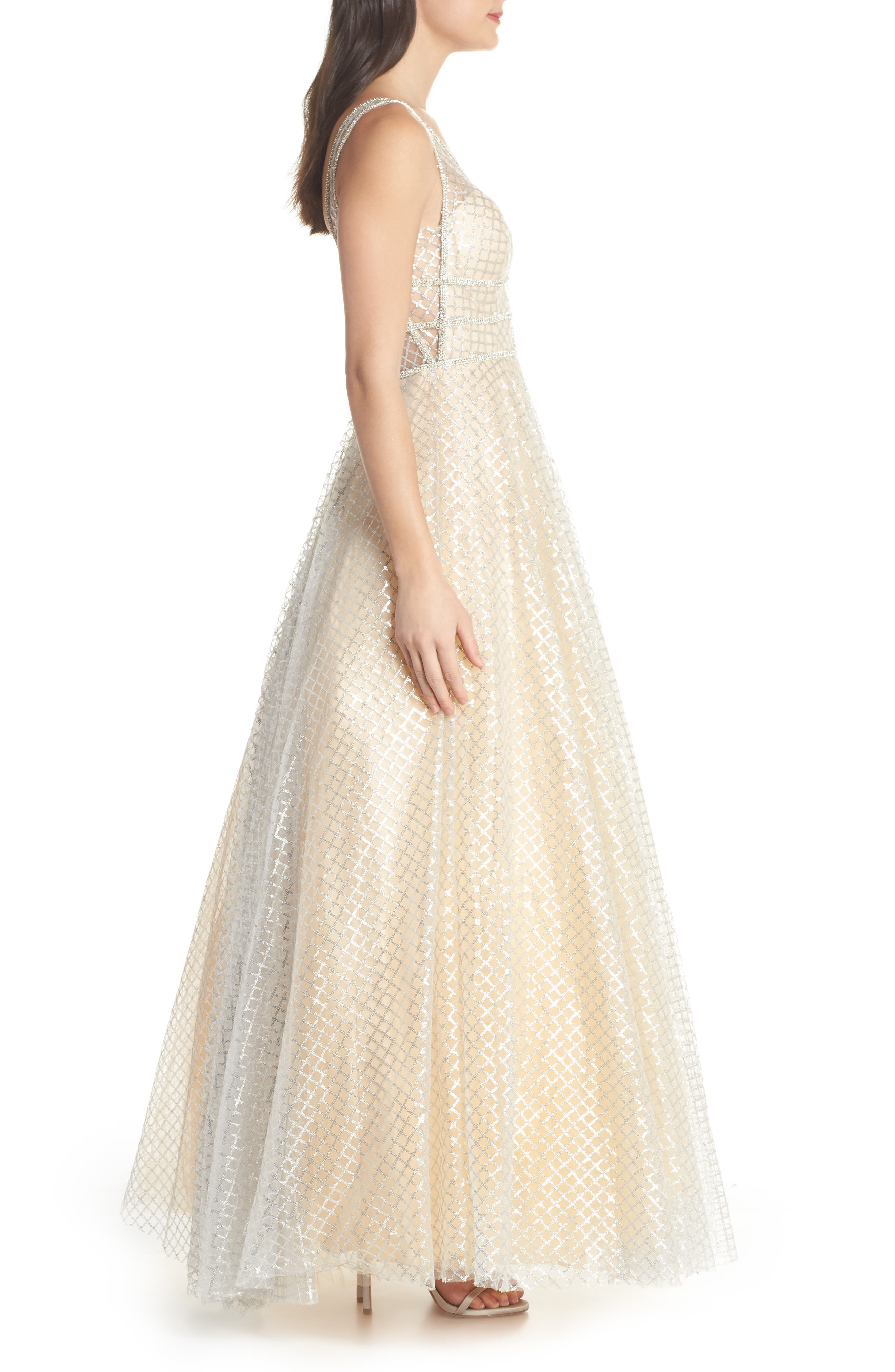 Sequin Illusion Neck Gown,                             Alternate thumbnail 3, color,                             Nude/ Silver