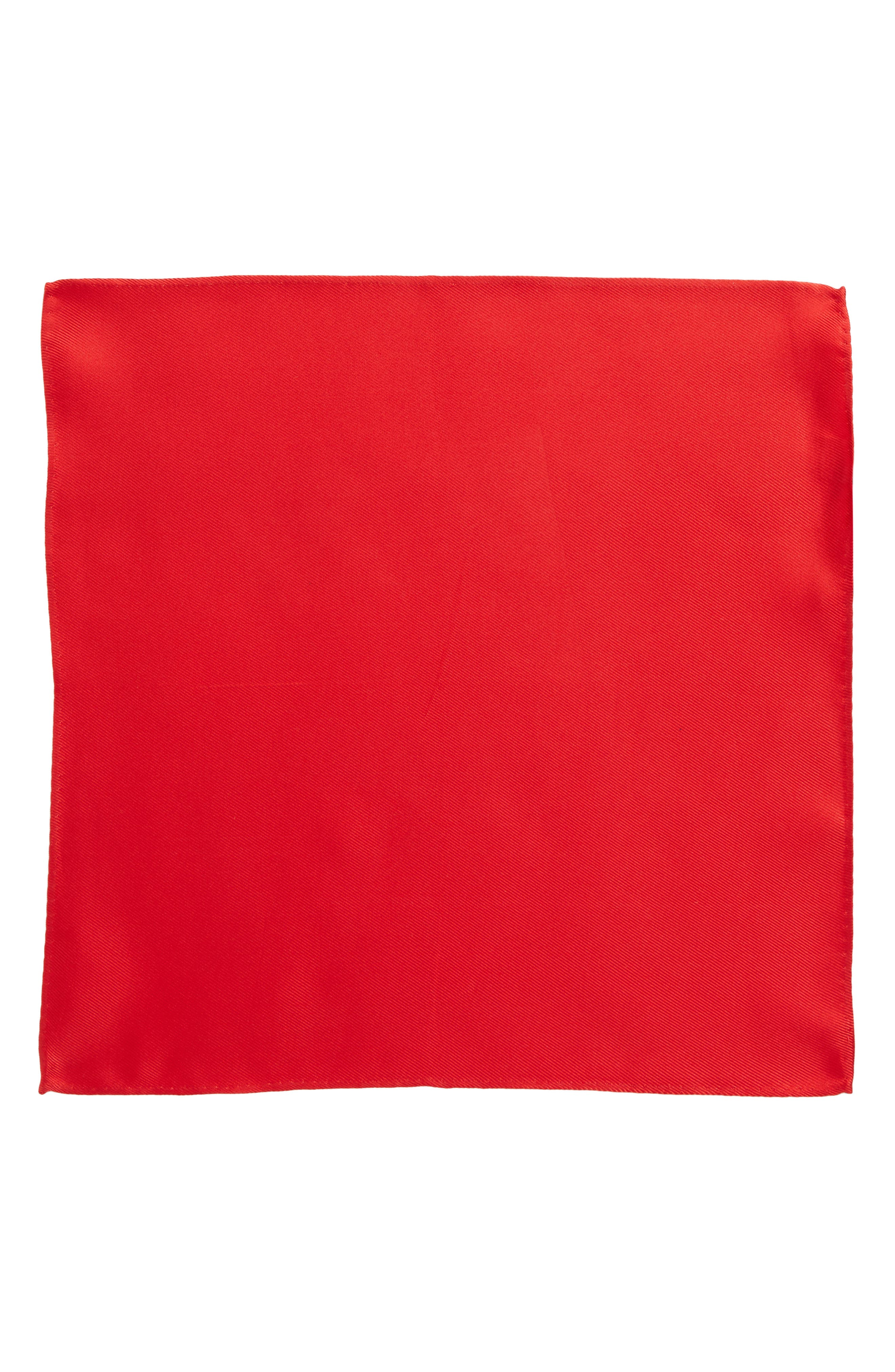 King Twill Silk Pocket Square,                             Alternate thumbnail 2, color,                             Red