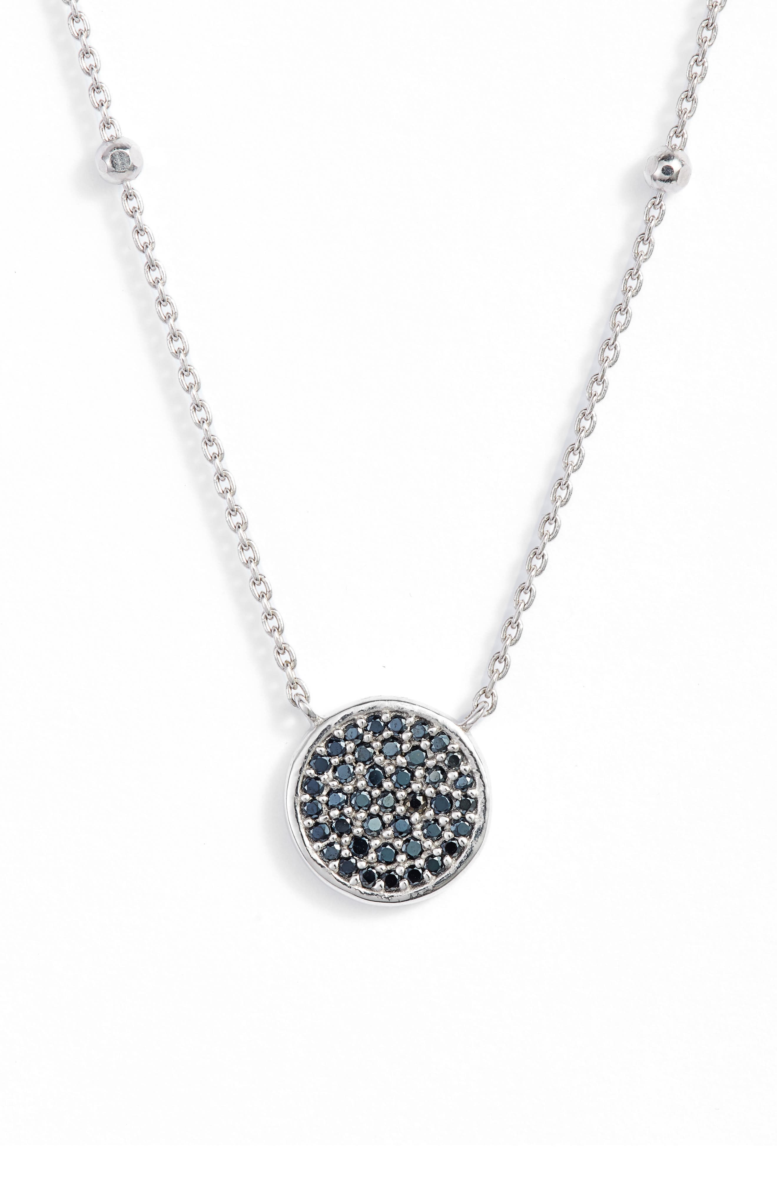 Round Pavé Pendant Necklace,                             Main thumbnail 1, color,                             Silver/ Black