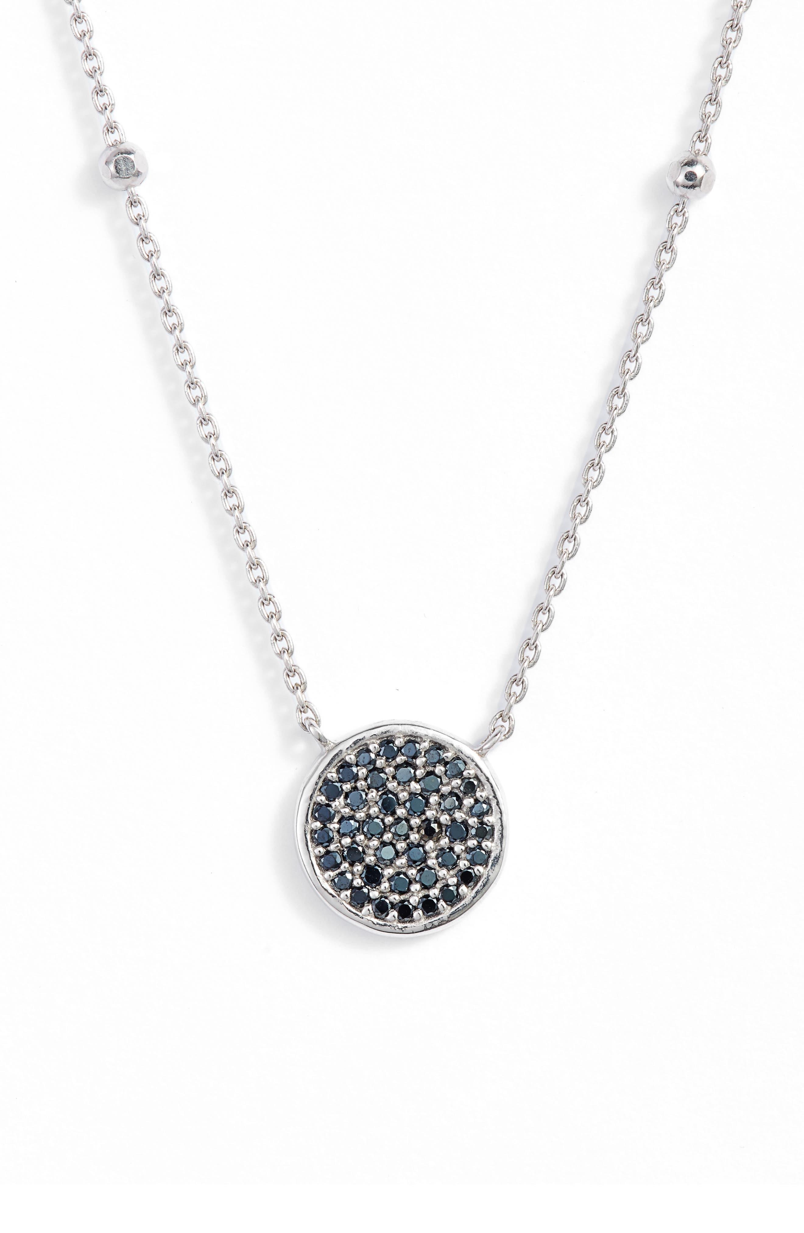 Round Pavé Pendant Necklace,                         Main,                         color, Silver/ Black