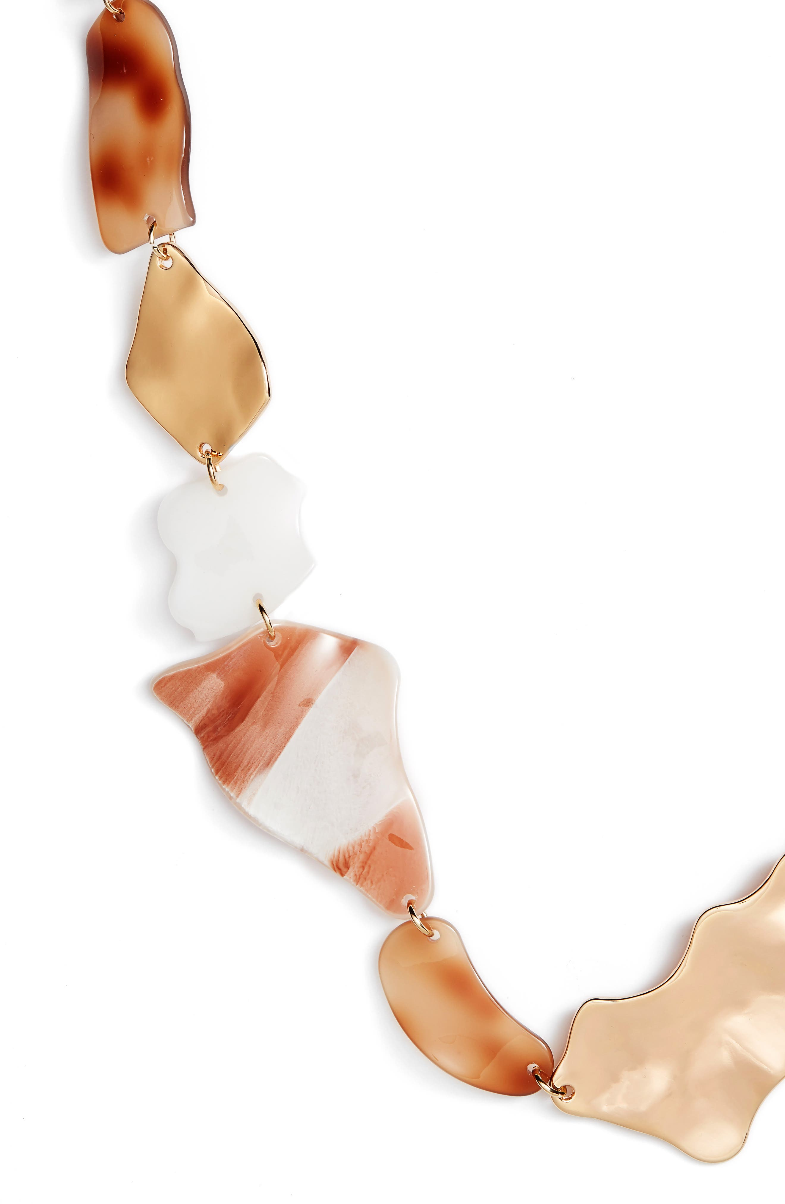 Mixed Shape Long Link Necklace,                             Alternate thumbnail 2, color,                             White