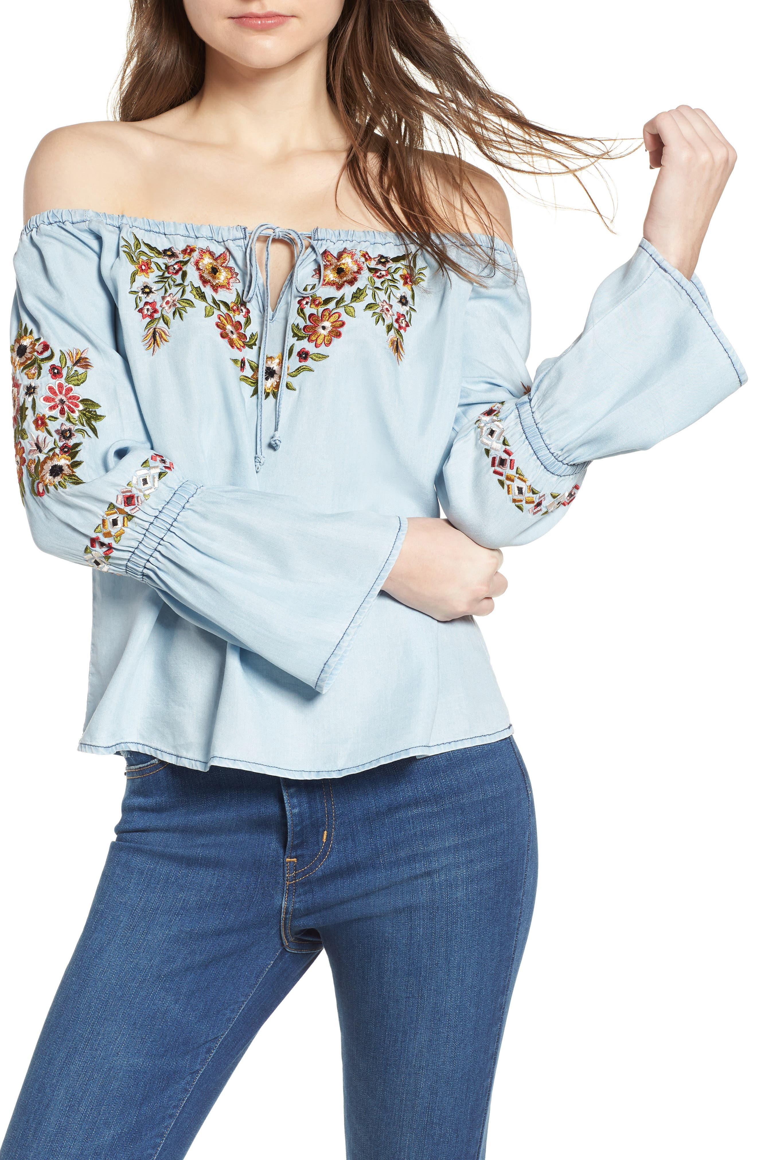 Adrien Off the Shoulder Top,                             Main thumbnail 1, color,                             Chambray