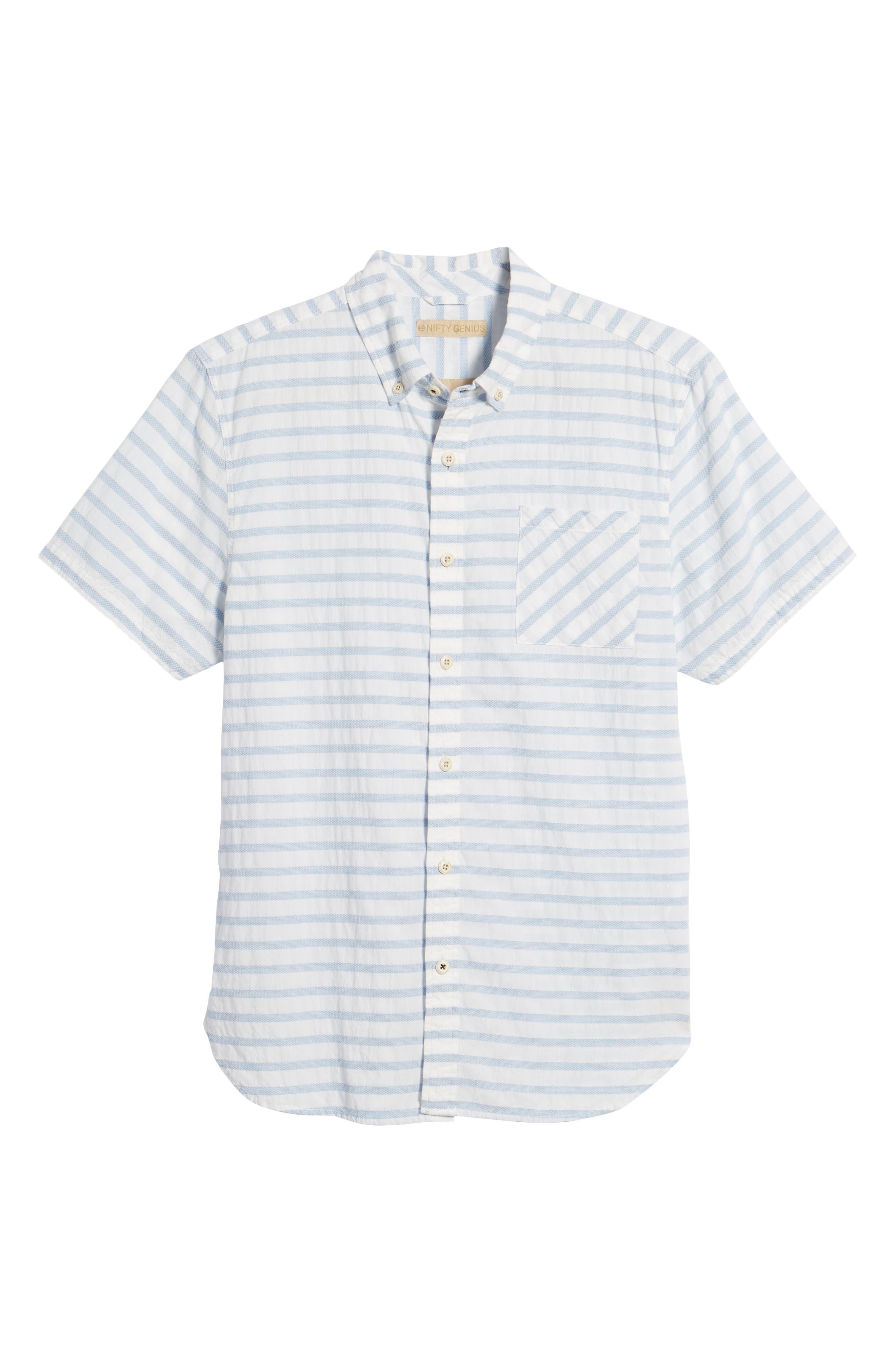 Truman Slim Fit Stripe Sport Shirt,                             Alternate thumbnail 6, color,                             White/ Blue