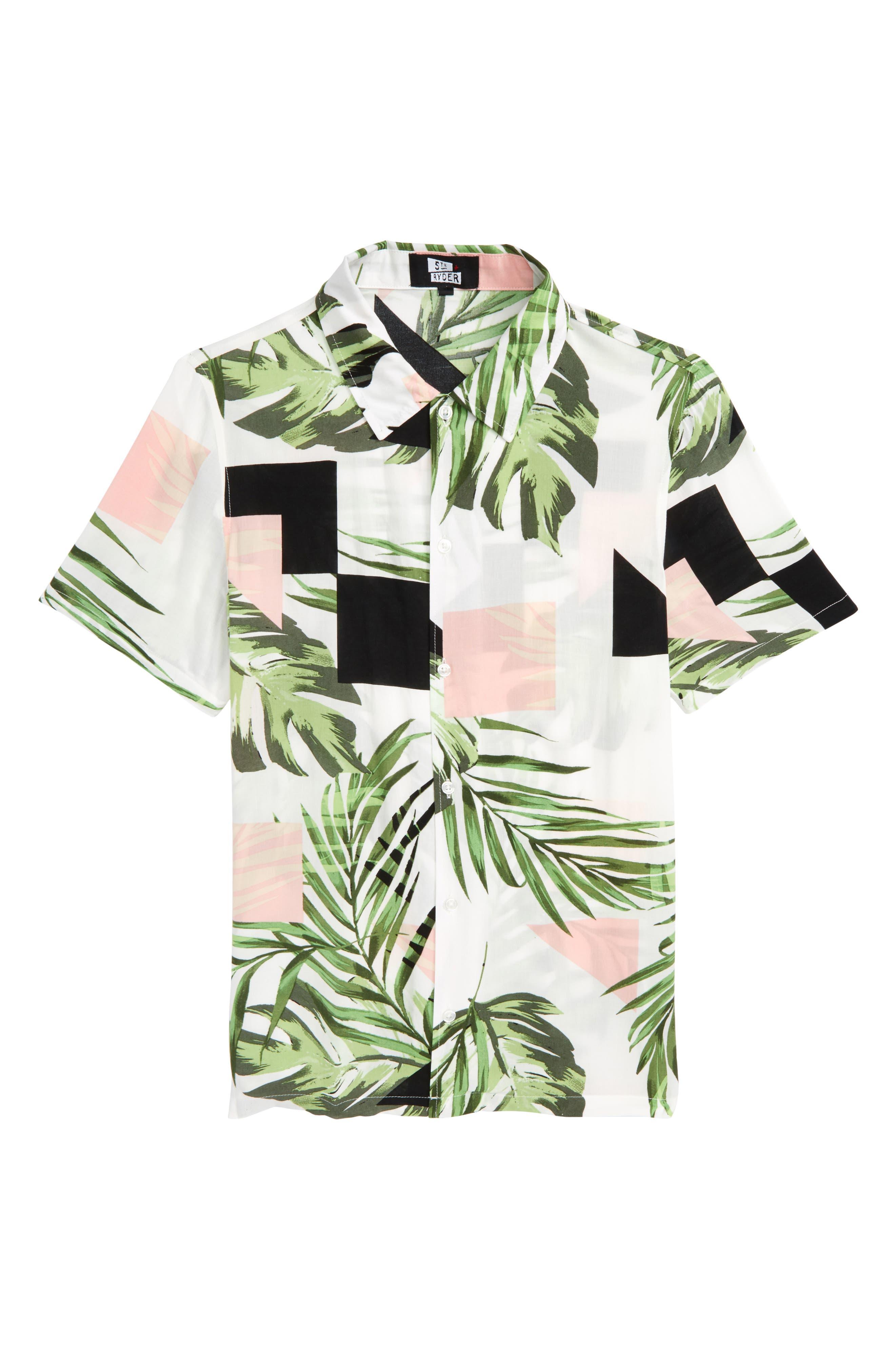 Print Woven Shirt,                         Main,                         color, White Geo Palm