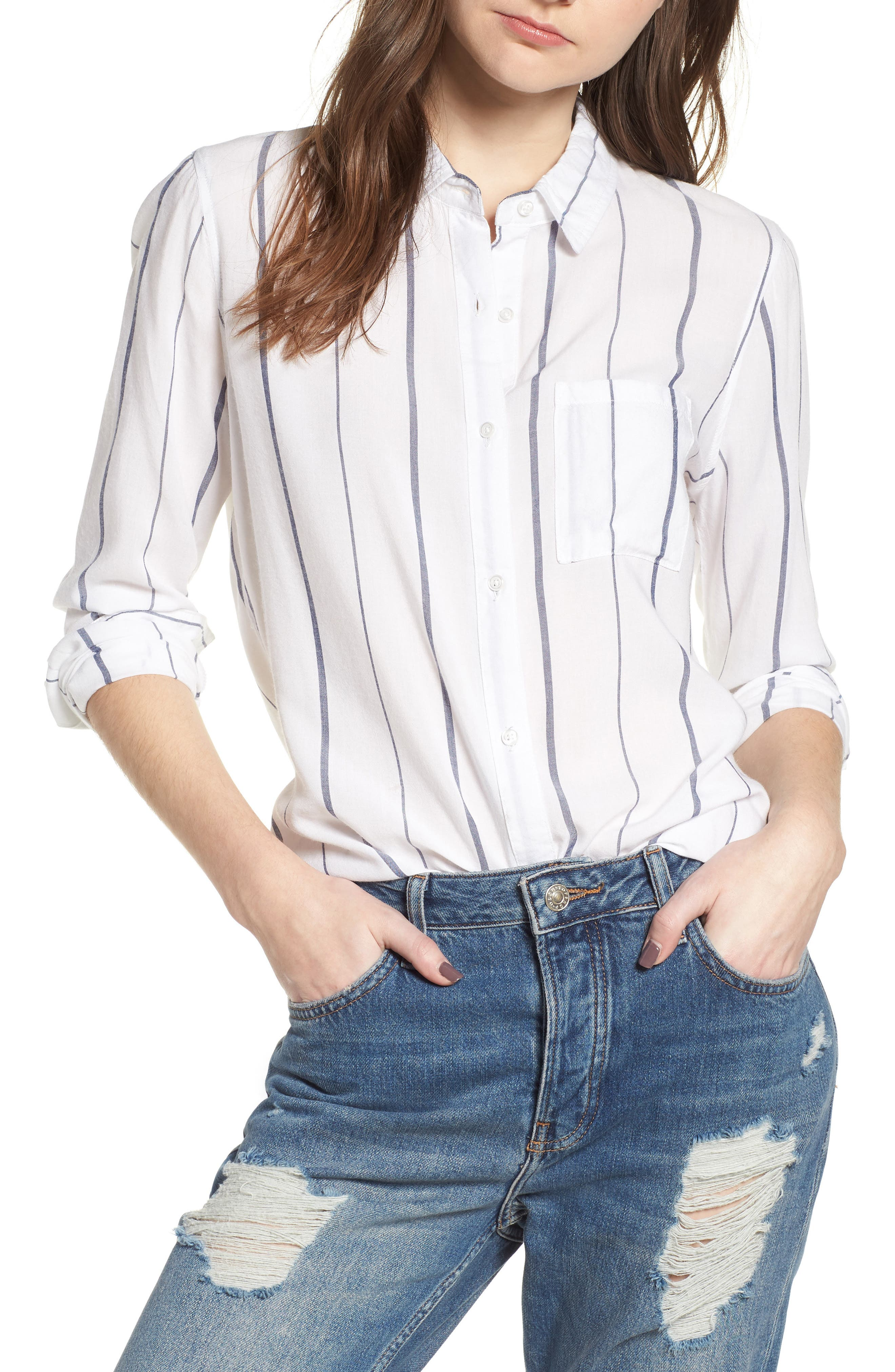 Canyons Stripe Shirt,                             Main thumbnail 1, color,                             White/ Navy Stripe