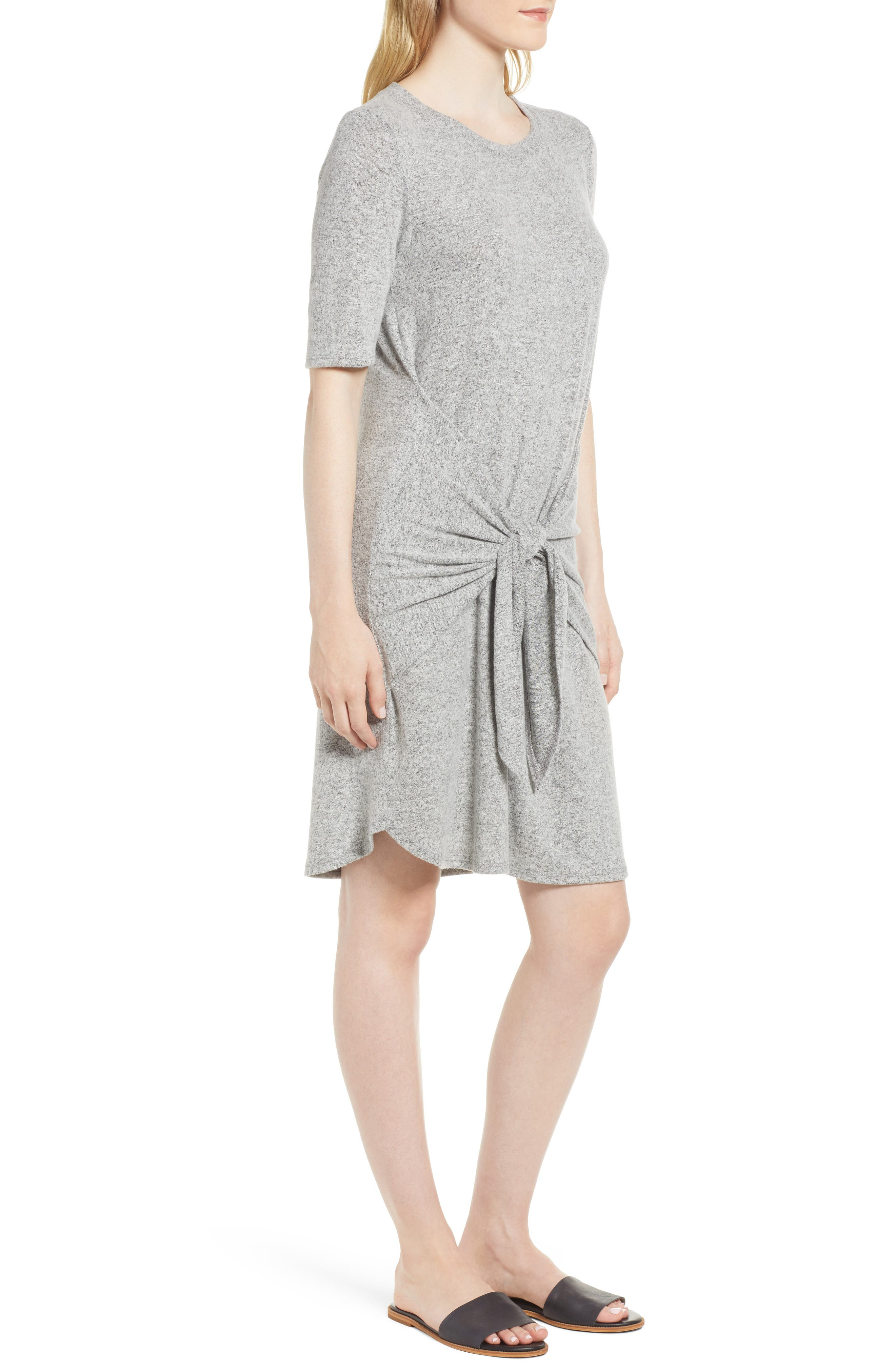 Caslon Off-Duty Tie Front Knit Dress,                             Alternate thumbnail 3, color,                             Grey Heather