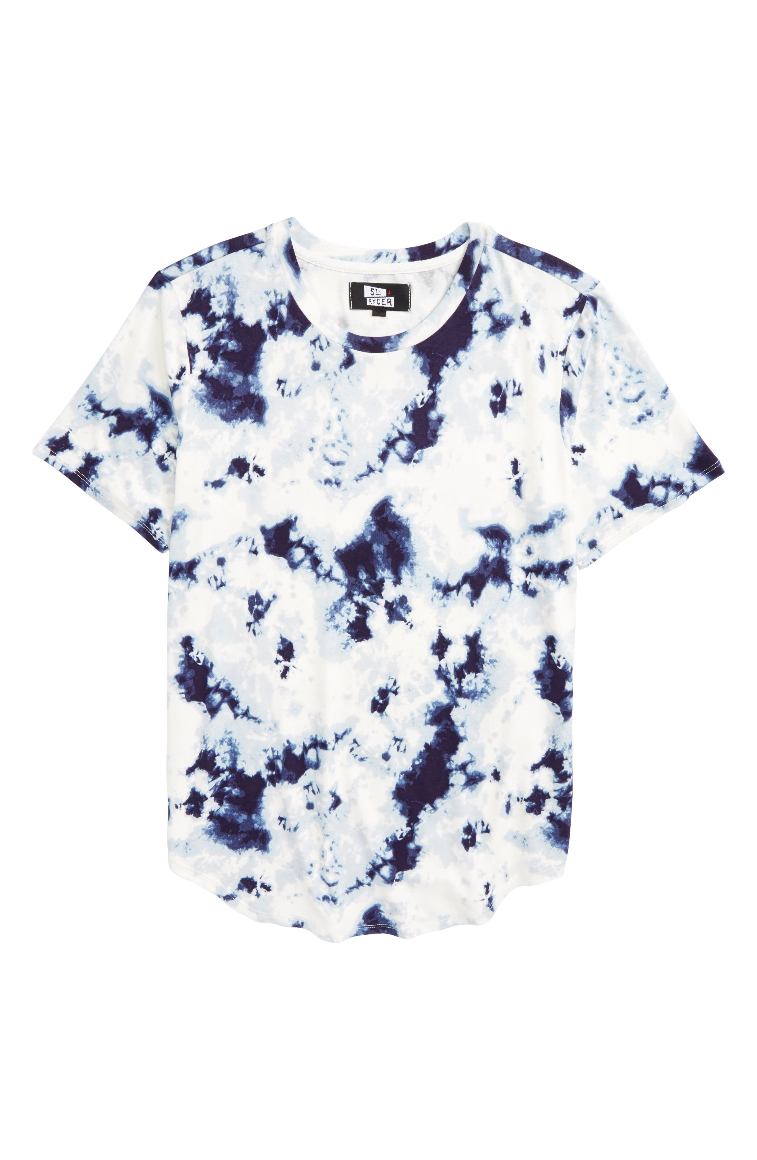 Curved Hem T-Shirt,                         Main,                         color, Navy Tie Dye