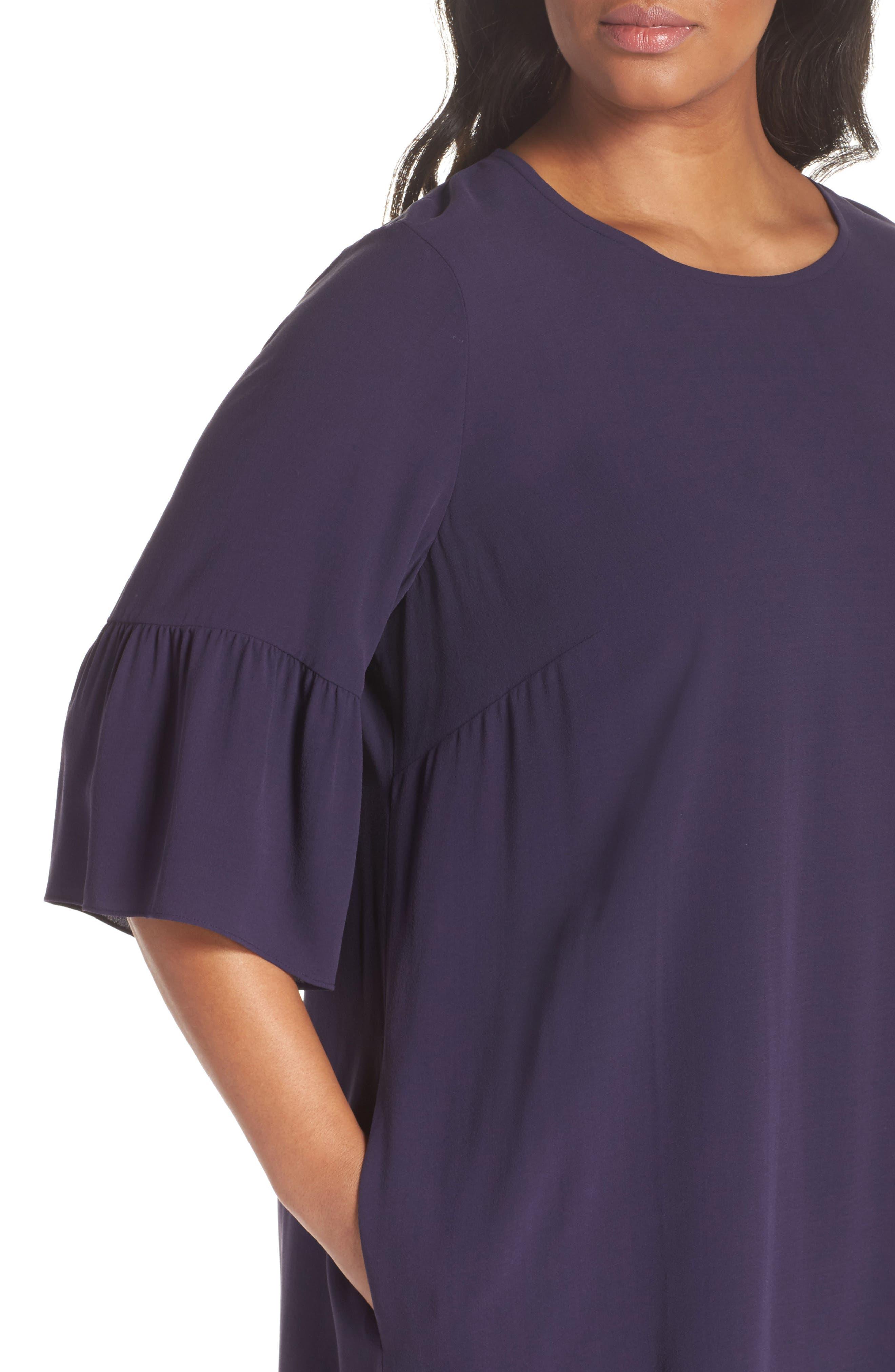 Flare Sleeve Silk Shift Dress,                             Alternate thumbnail 4, color,                             Salt Lake