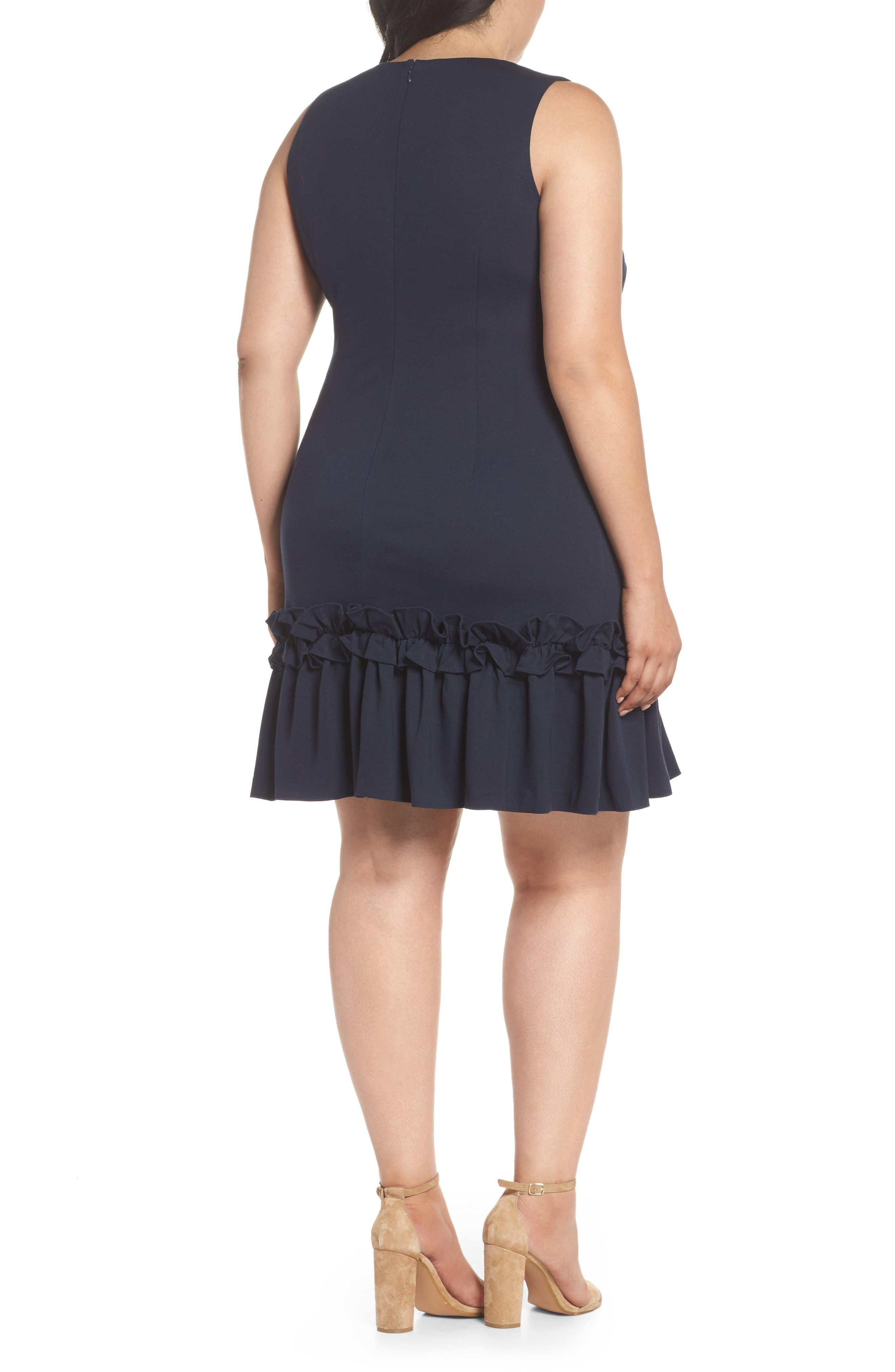 Ruffle Hem Sheath Dress,                             Alternate thumbnail 2, color,                             Navy Sapphire