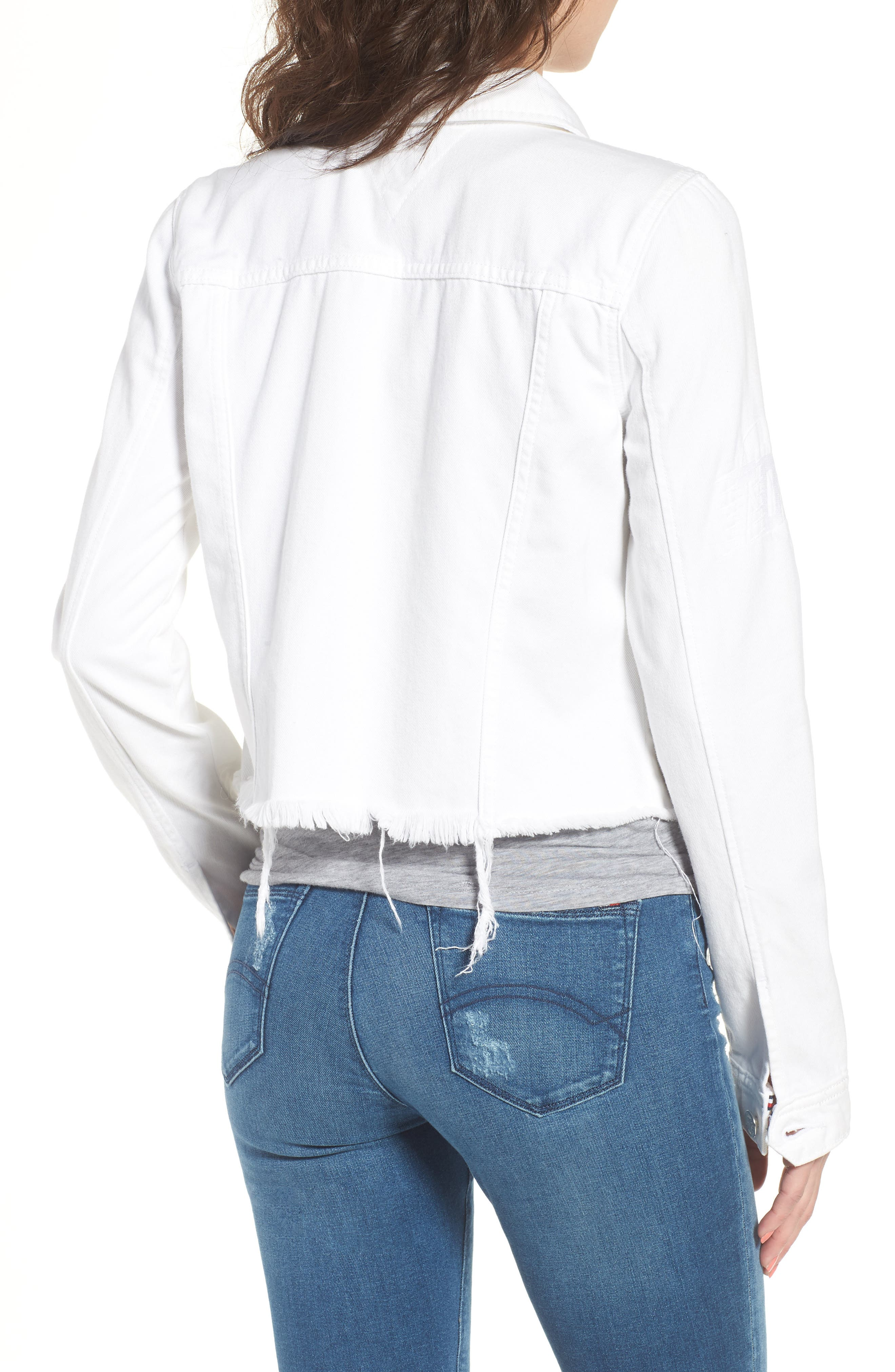 Slim Trucker Denim Jacket,                             Alternate thumbnail 2, color,                             Soft White Rigid