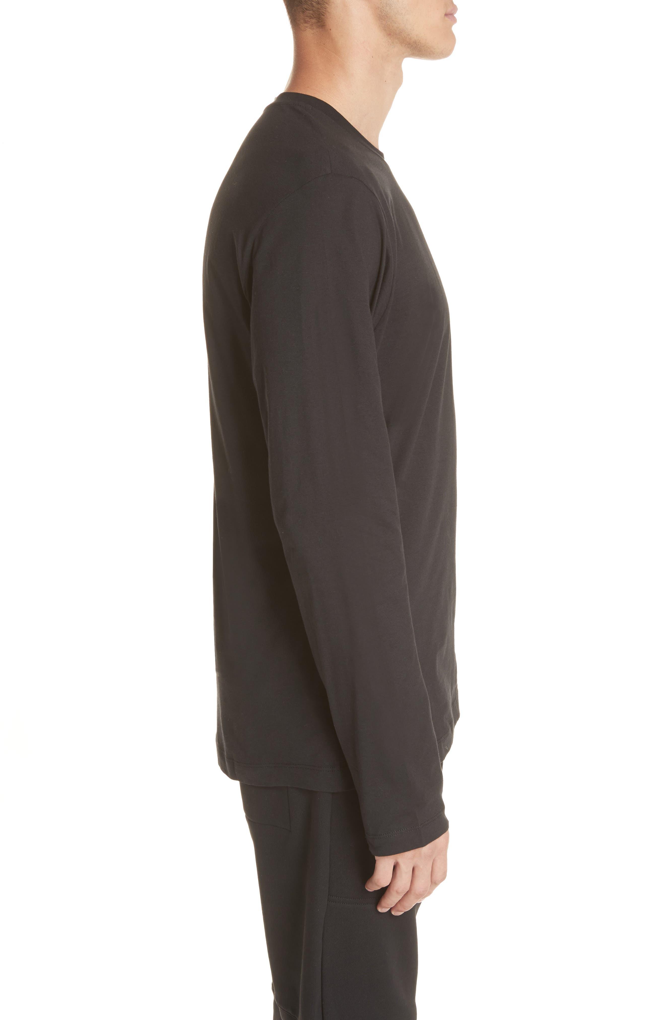 Cut Neck Long Sleeve T-Shirt,                             Alternate thumbnail 3, color,                             Black