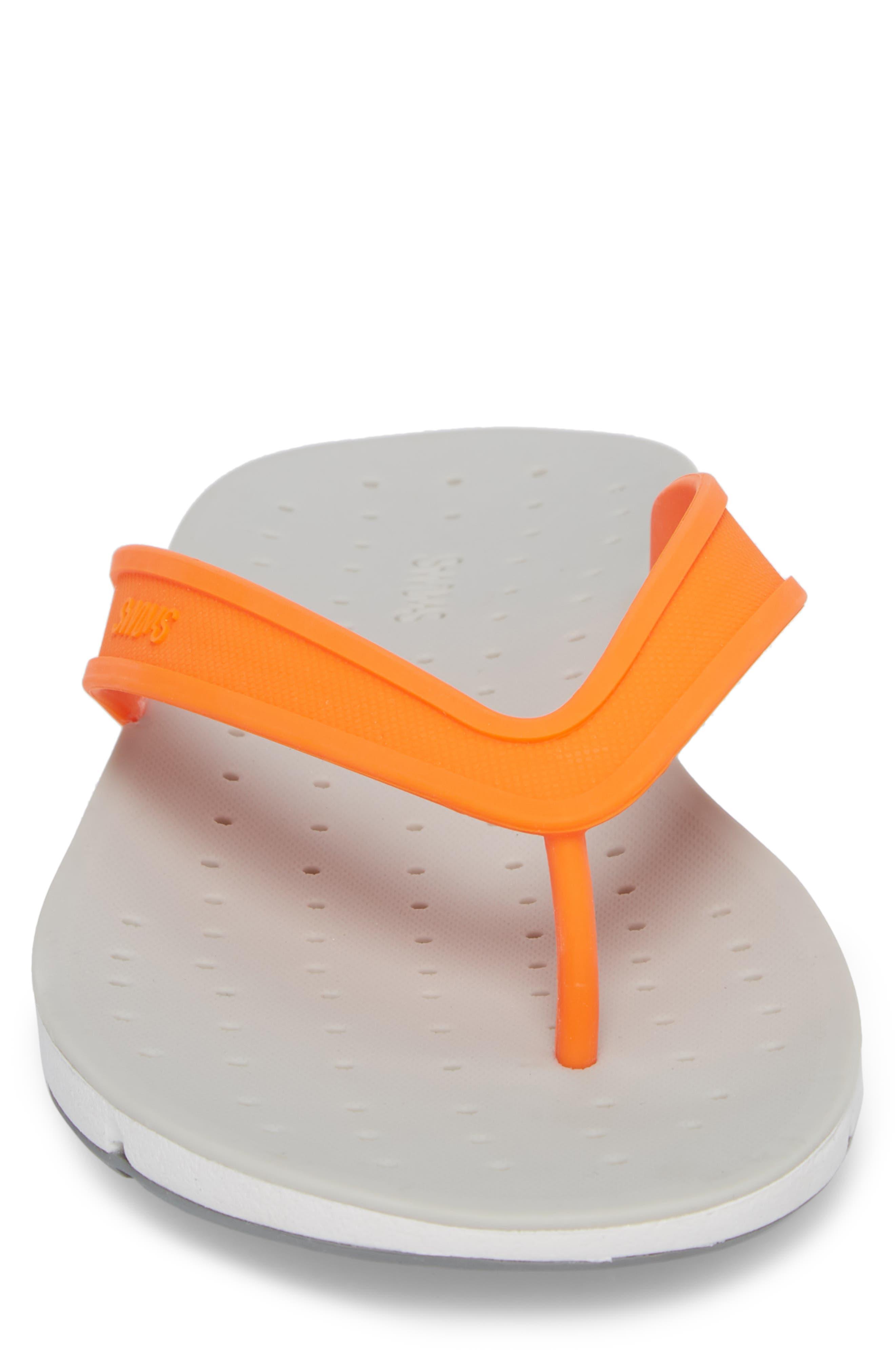 Breeze Flip Flop,                             Alternate thumbnail 4, color,                             Orange/ White/ Grey Fabric