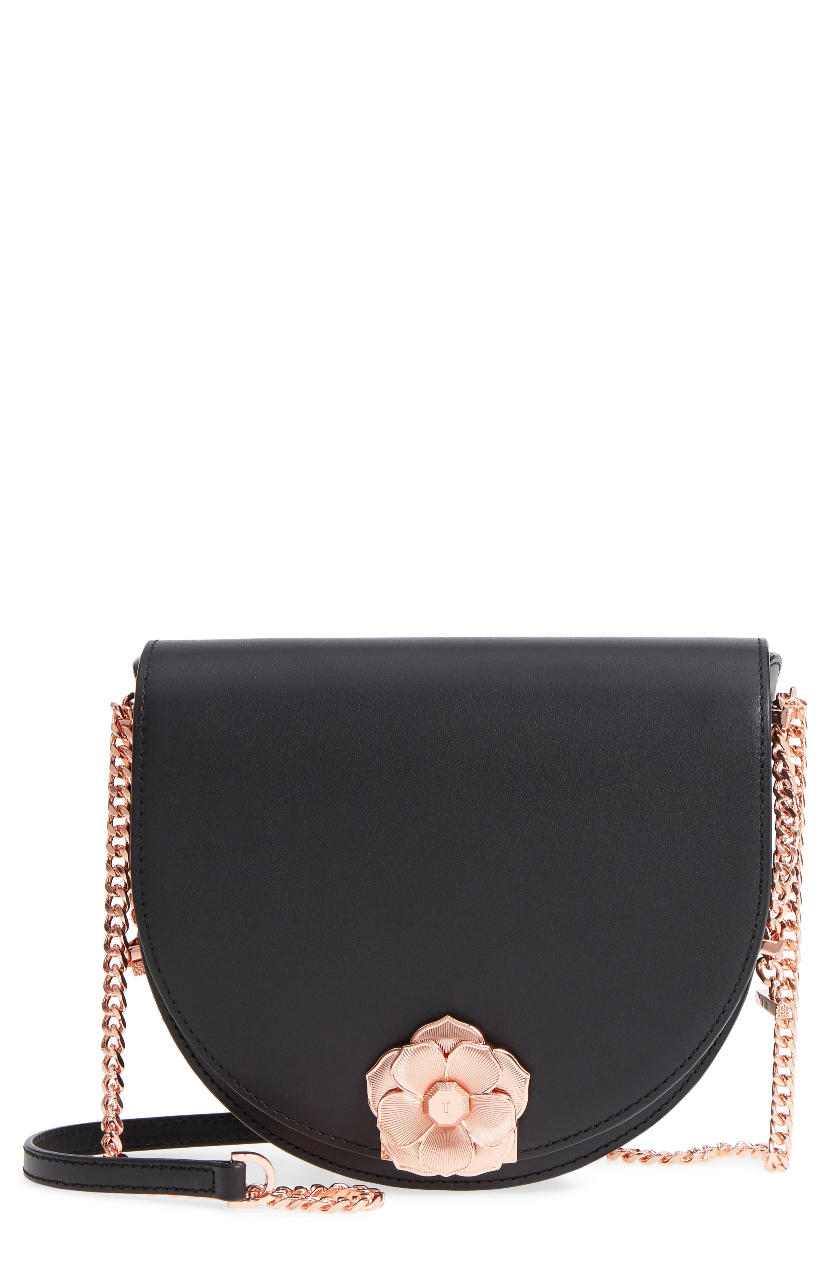 Roslyn Leather Crossbody Bag,                             Main thumbnail 1, color,                             Black