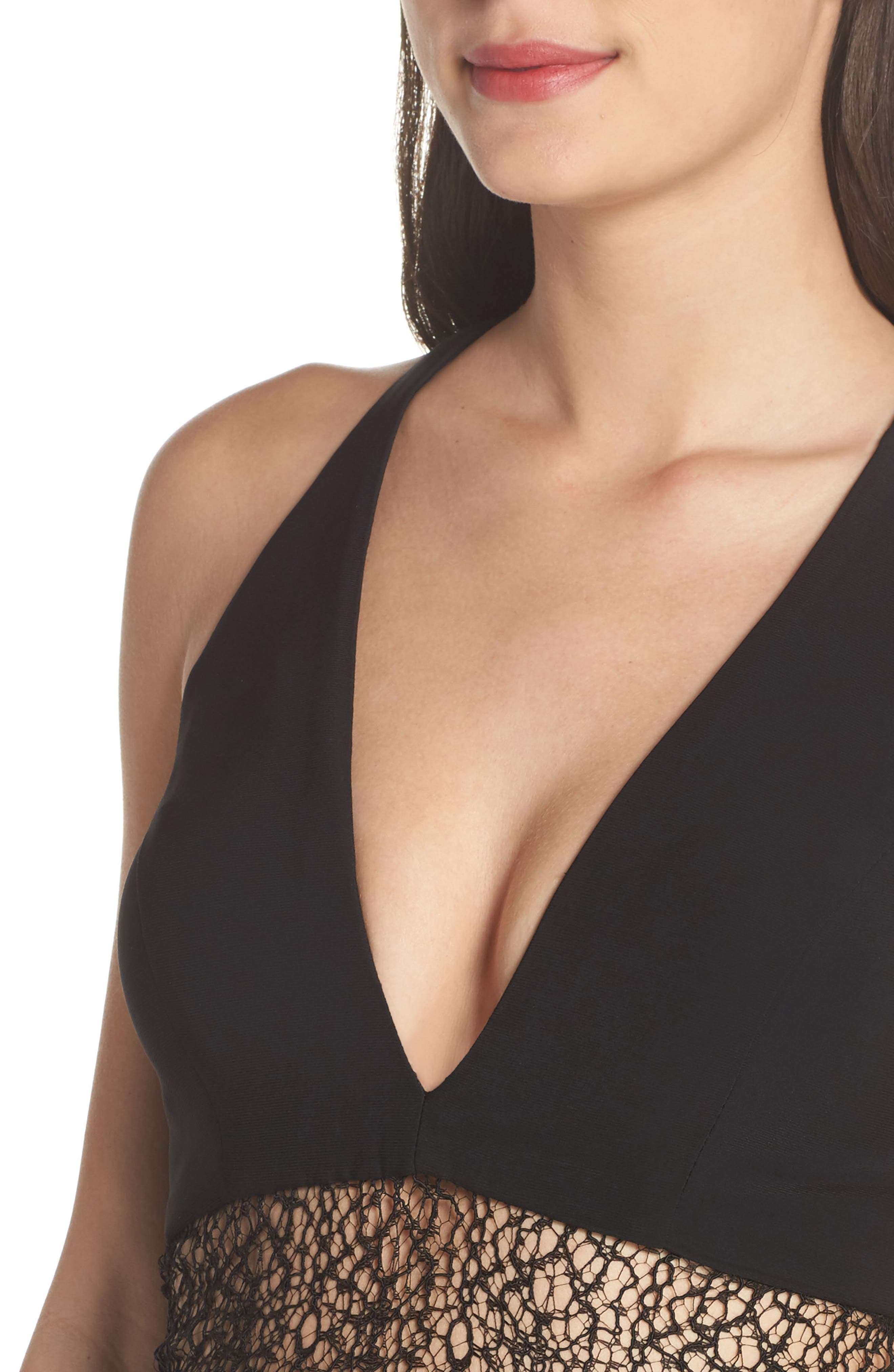Lace Inset Gown,                             Alternate thumbnail 4, color,                             Black