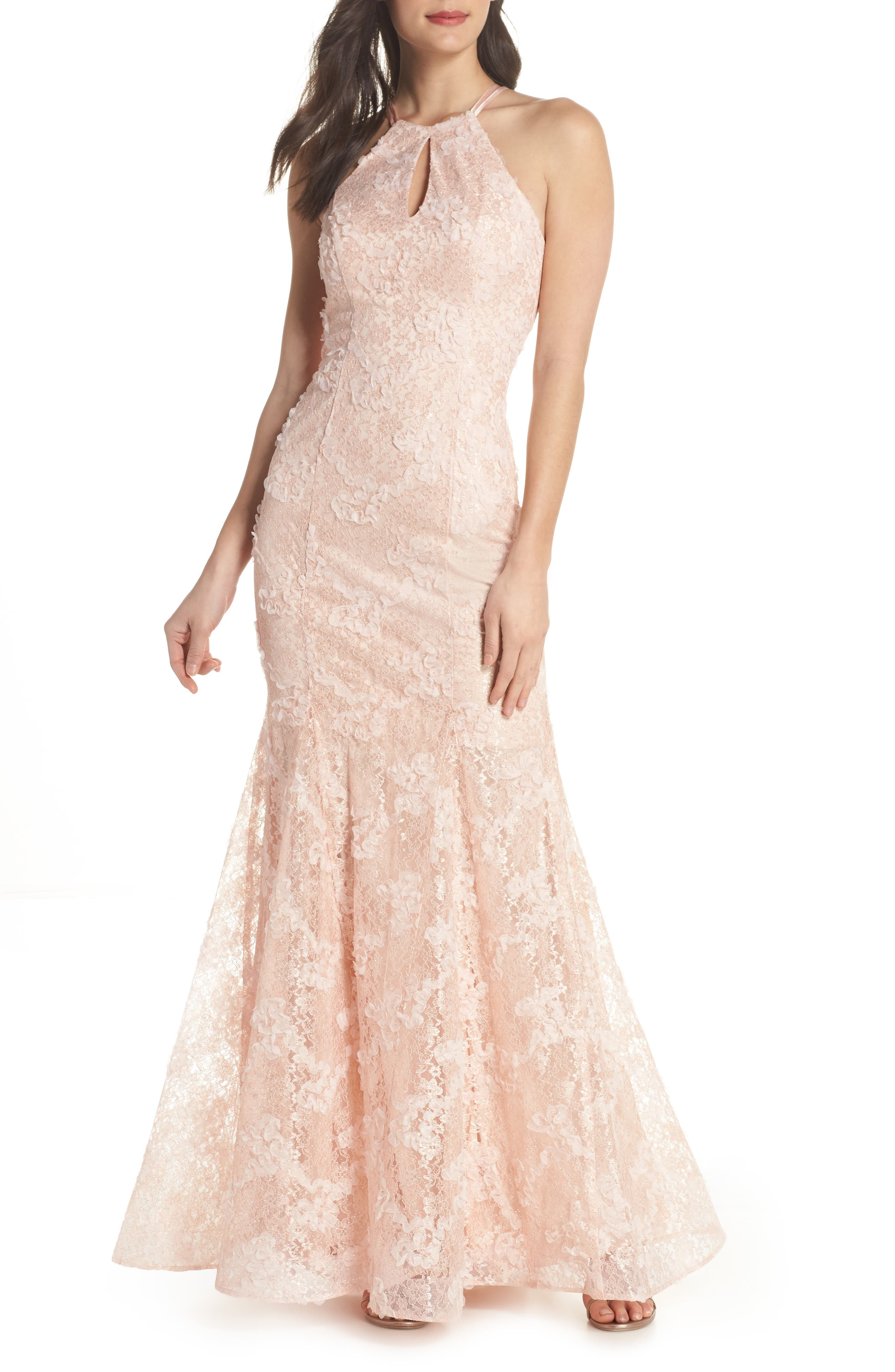 Ruched Lace Halter Mermaid Gown,                         Main,                         color, Blush