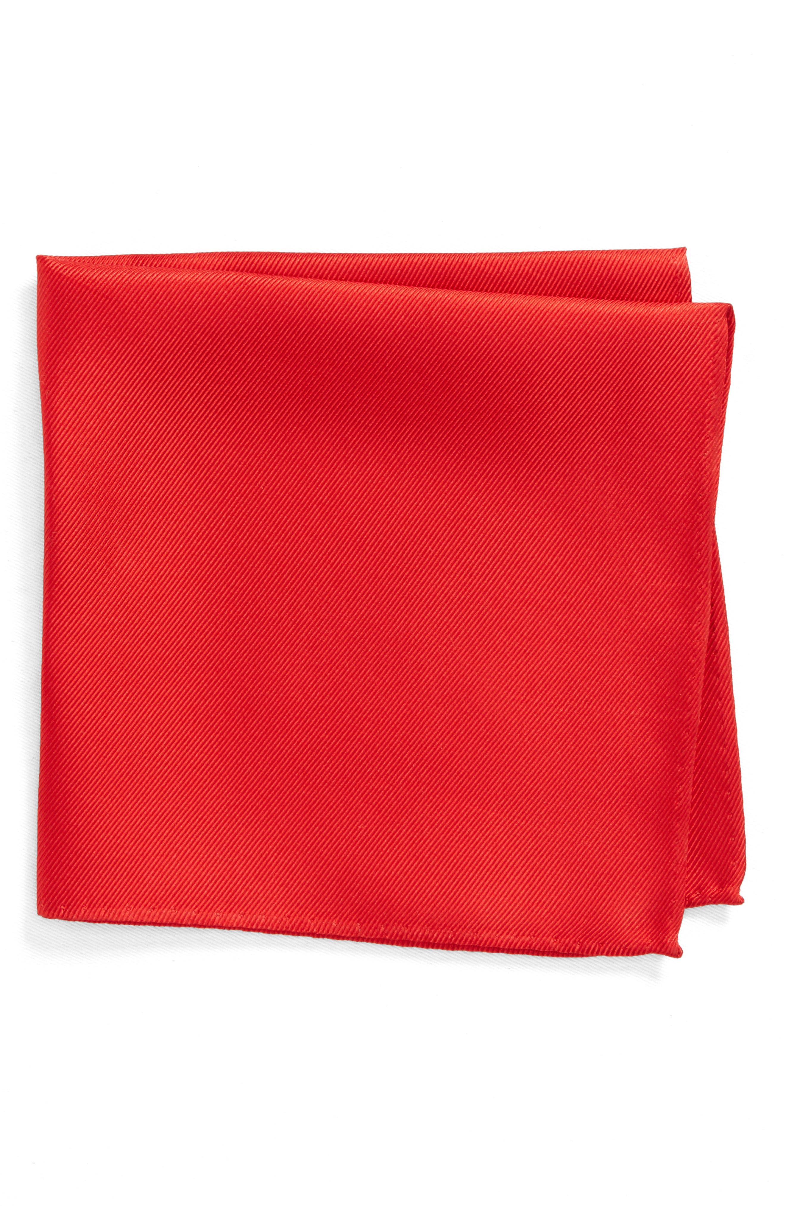 King Twill Silk Pocket Square,                         Main,                         color, Red