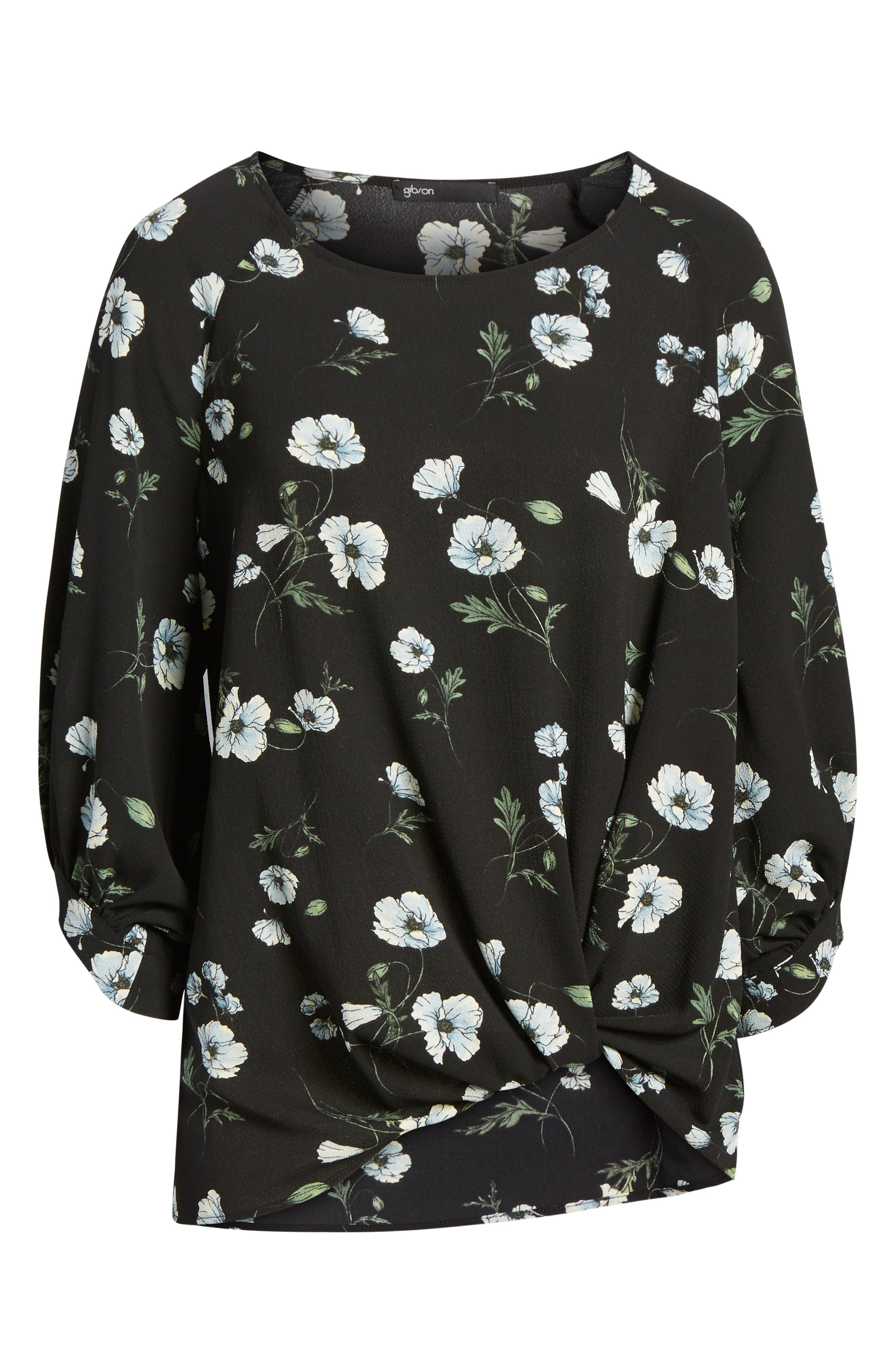 x Living in Yellow Maggie Twist Hem Top,                             Alternate thumbnail 8, color,                             Black Floral