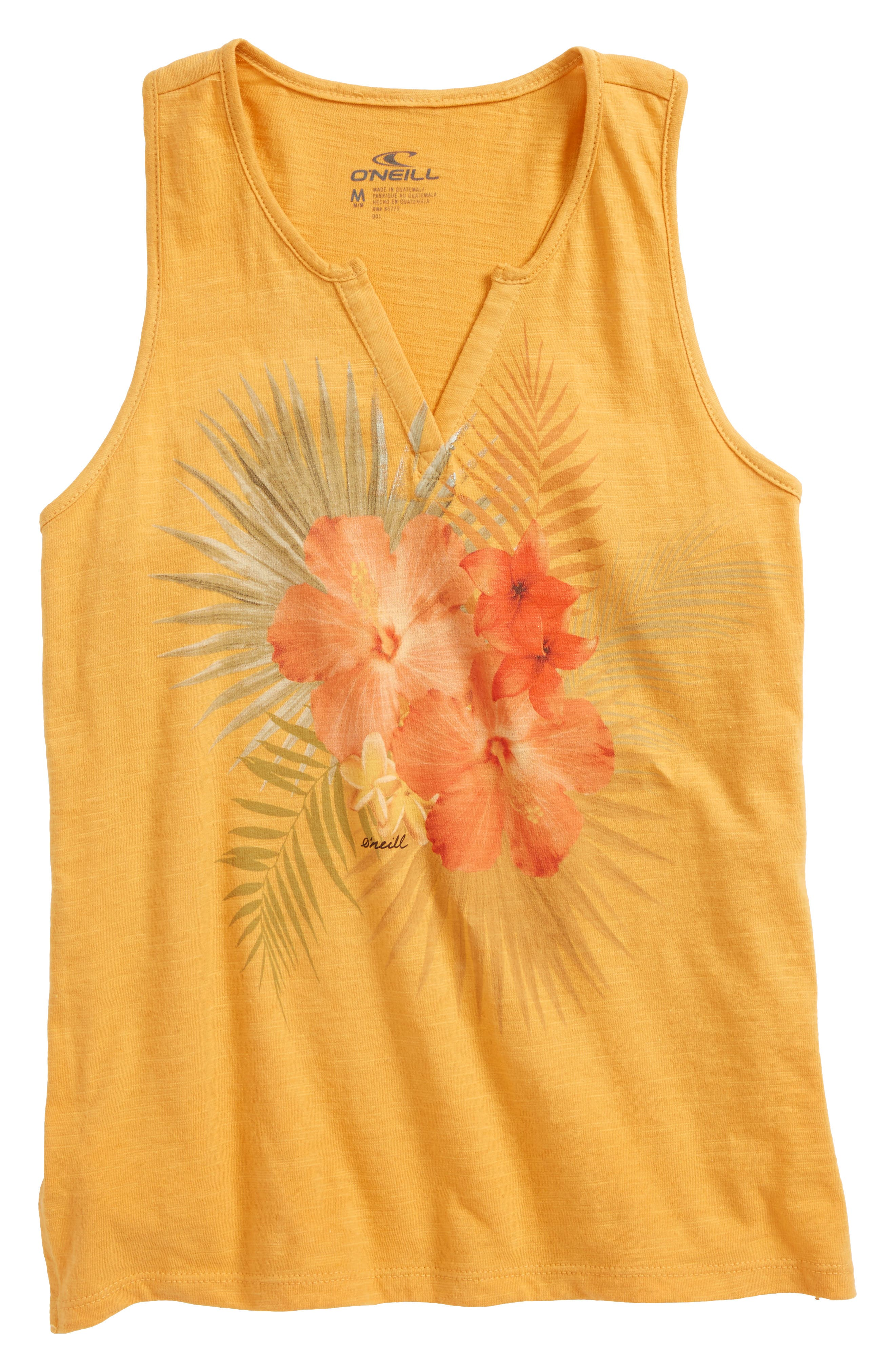 Cool Bloom Floral Graphic Tank,                             Main thumbnail 1, color,                             Goldie
