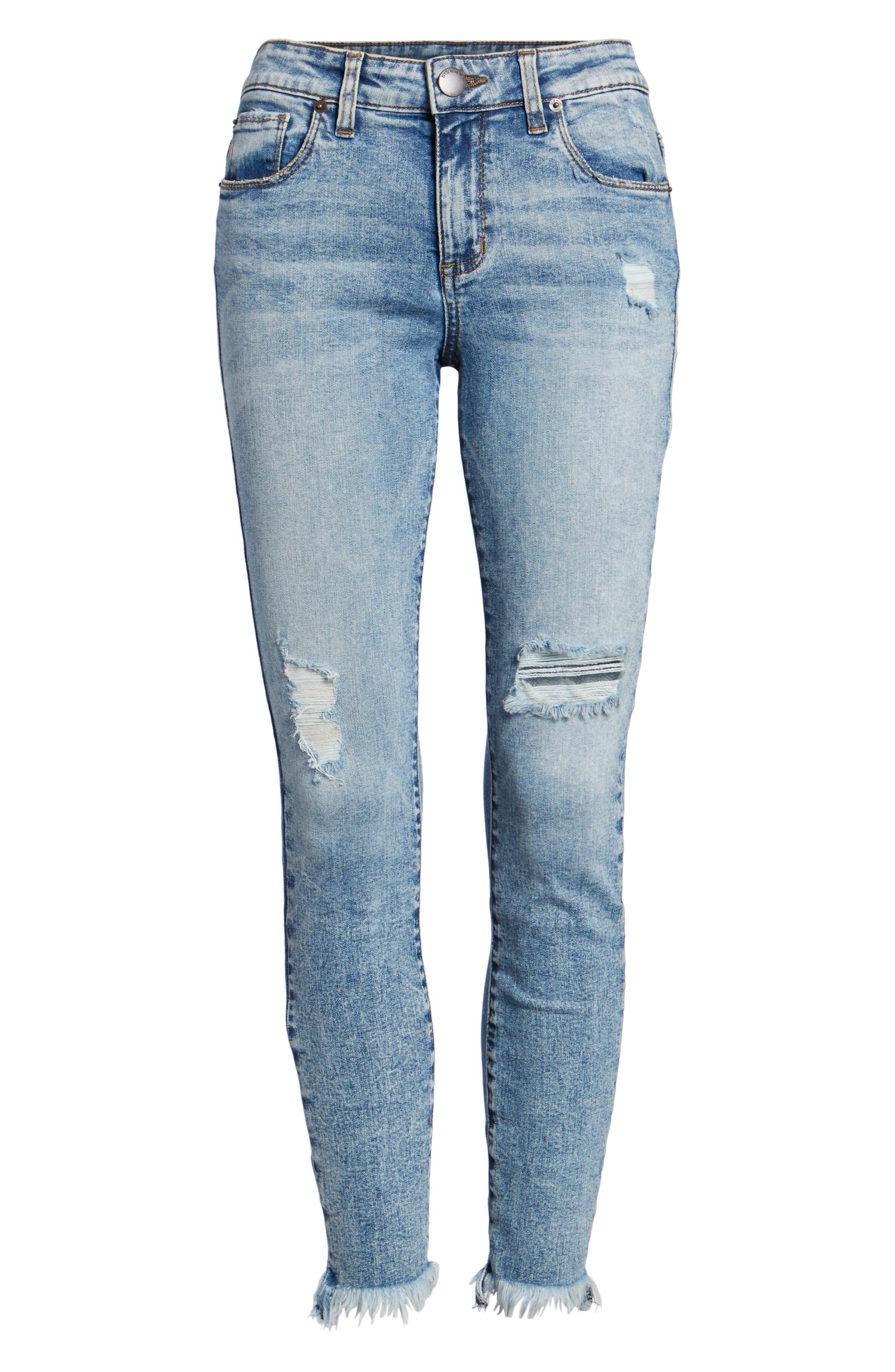 Emma Fray Hem Ankle Skinny Jeans,                             Alternate thumbnail 7, color,                             Durkee
