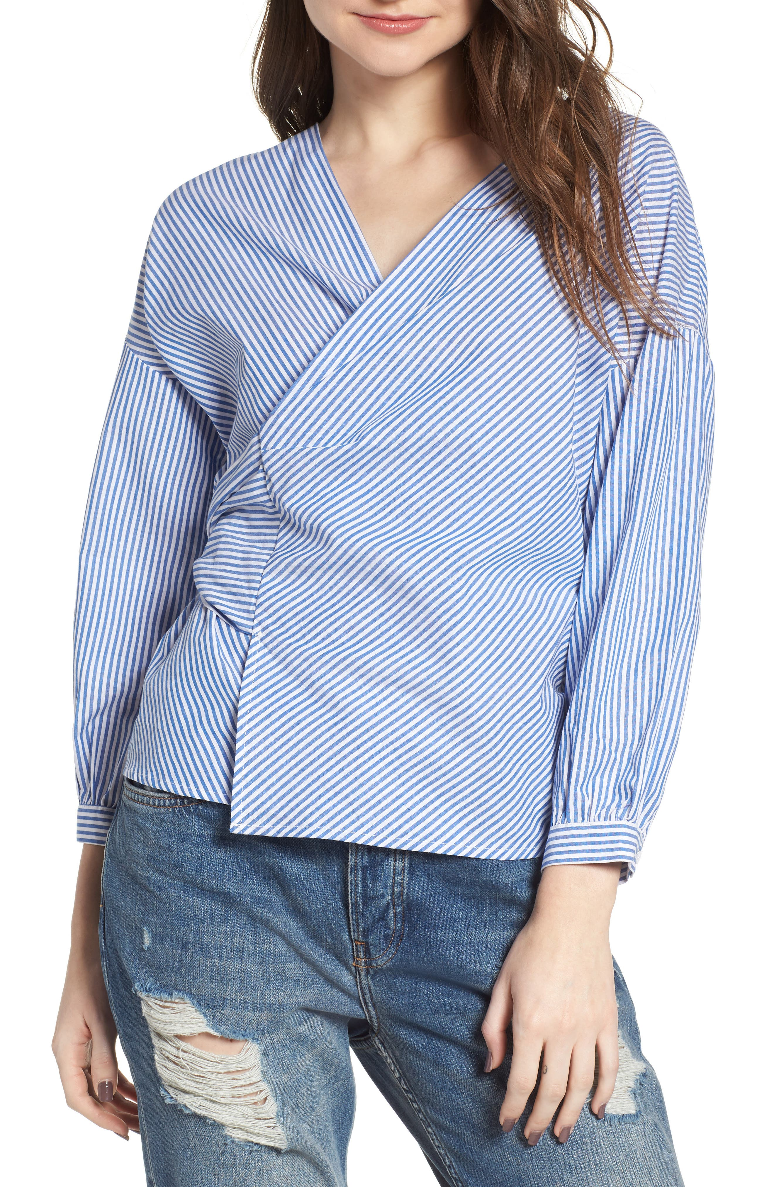 Stripe Wrap Top,                             Main thumbnail 1, color,                             Blue/ White