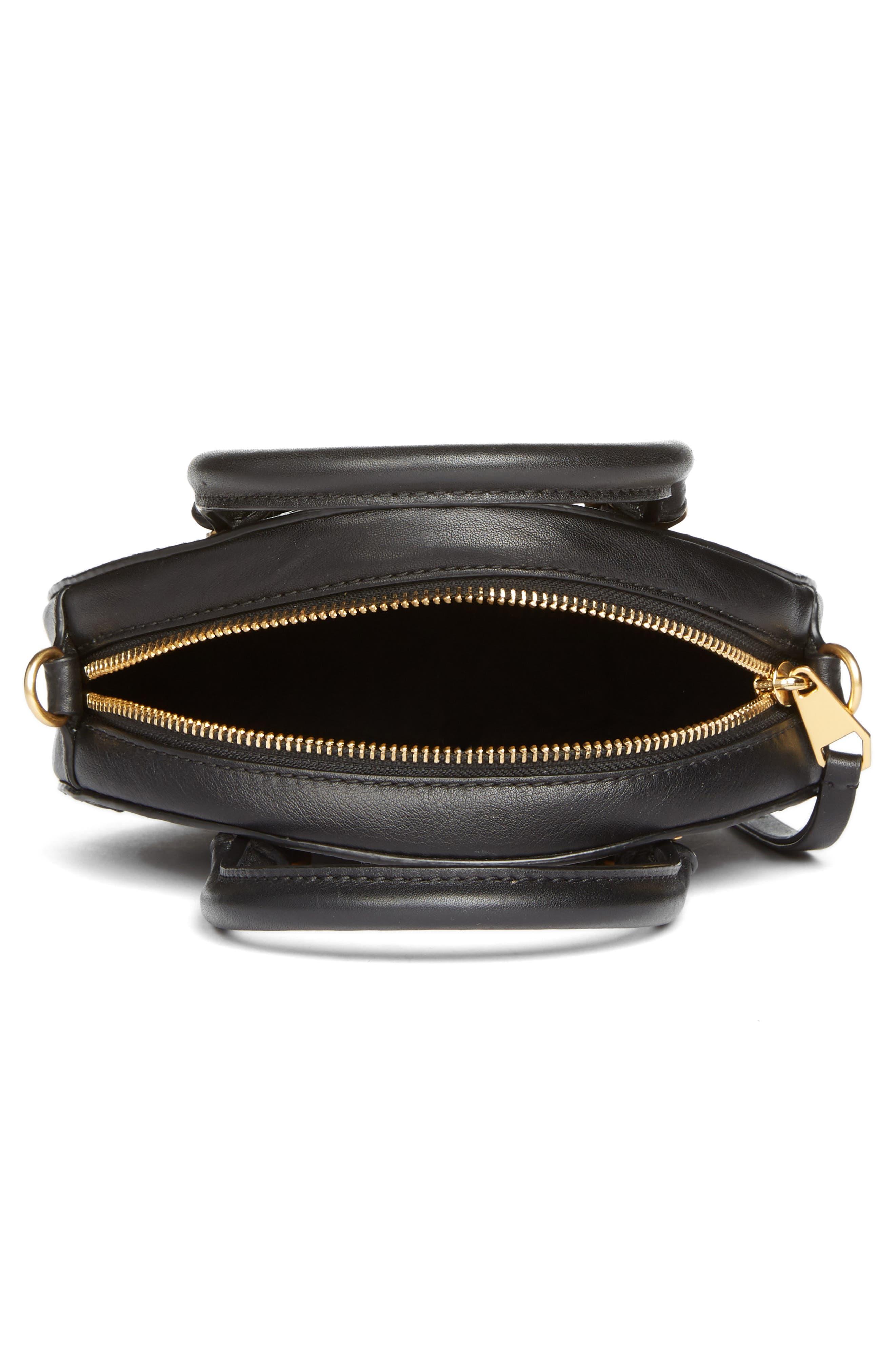 Bree Circle Leather Crossbody Bag,                             Alternate thumbnail 4, color,                             Black