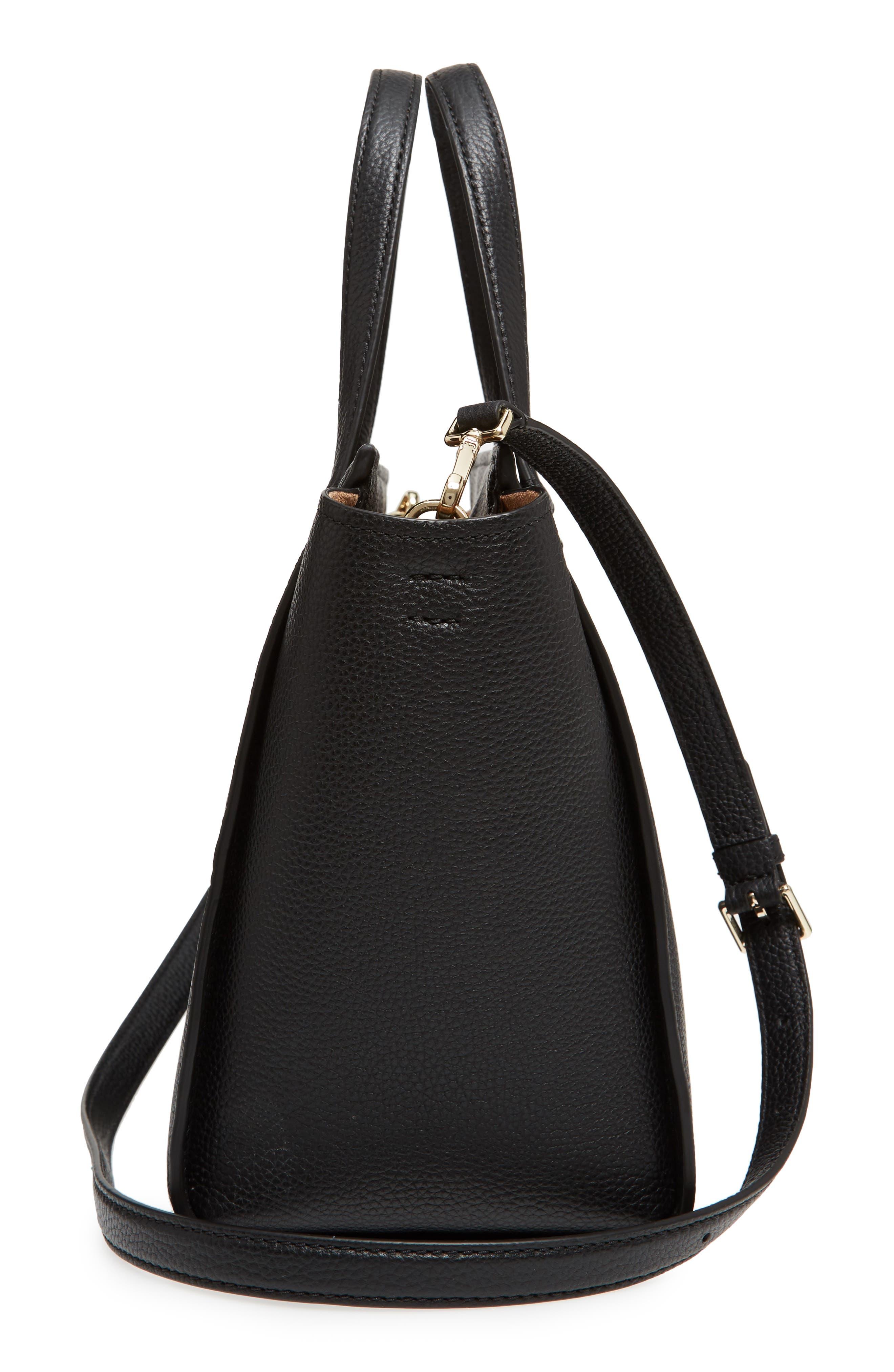 trent hill - hayden leather satchel,                             Alternate thumbnail 5, color,                             Black
