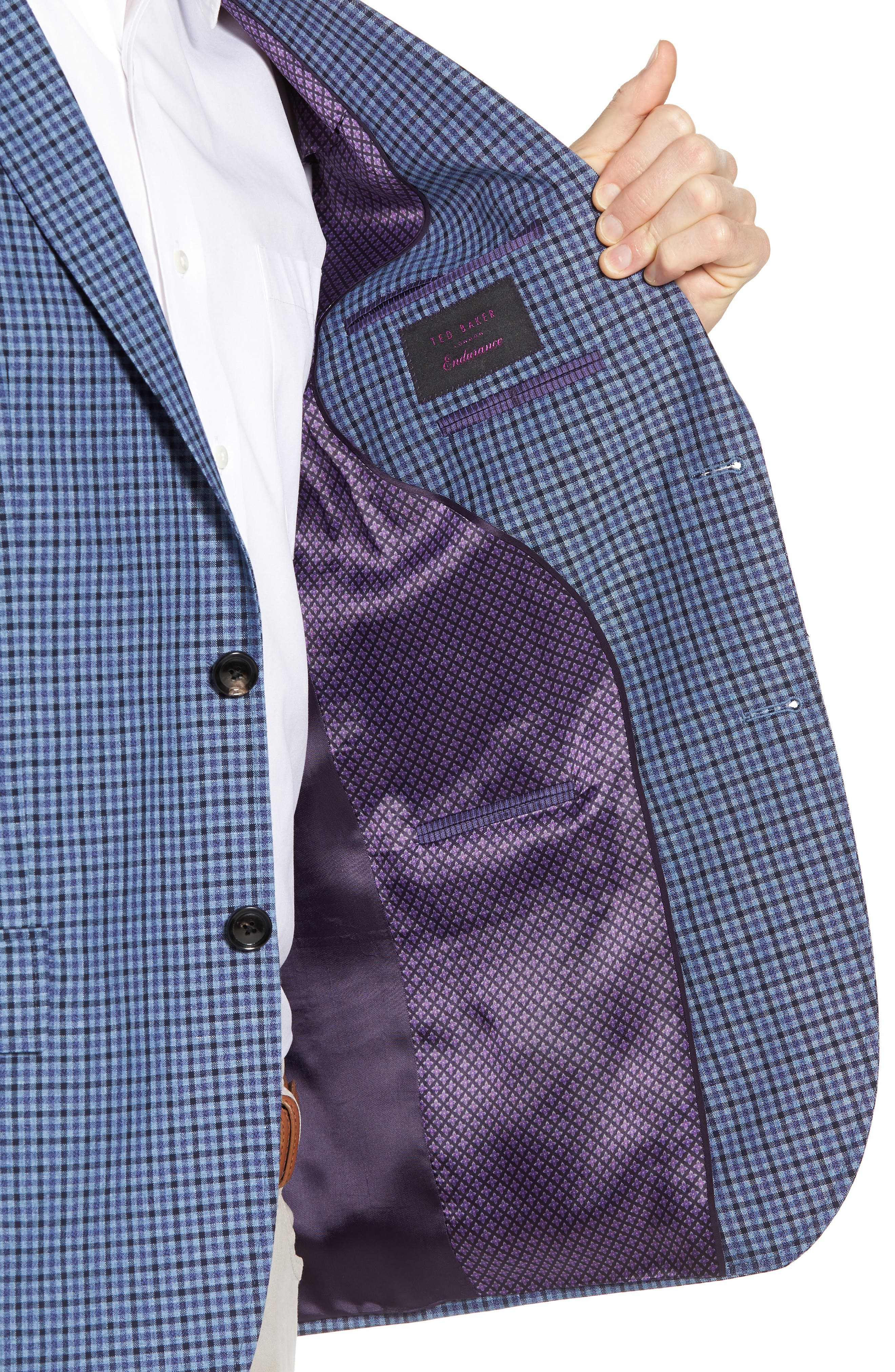 Jay Trim Fit Check Wool & Linen Sport Coat,                             Alternate thumbnail 4, color,                             Blue