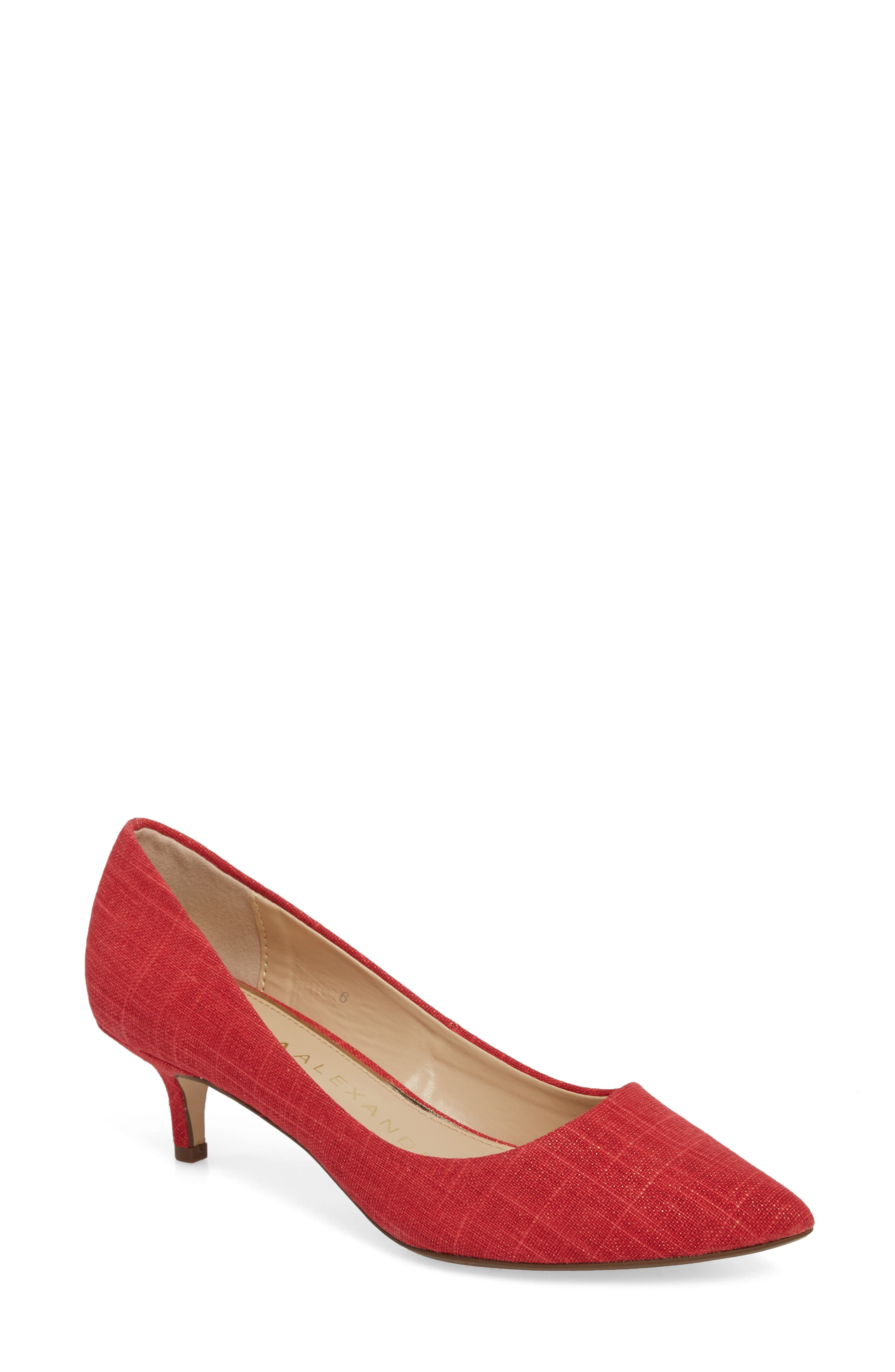 Target Kitten Heel Pump,                             Main thumbnail 1, color,                             Red Fabric