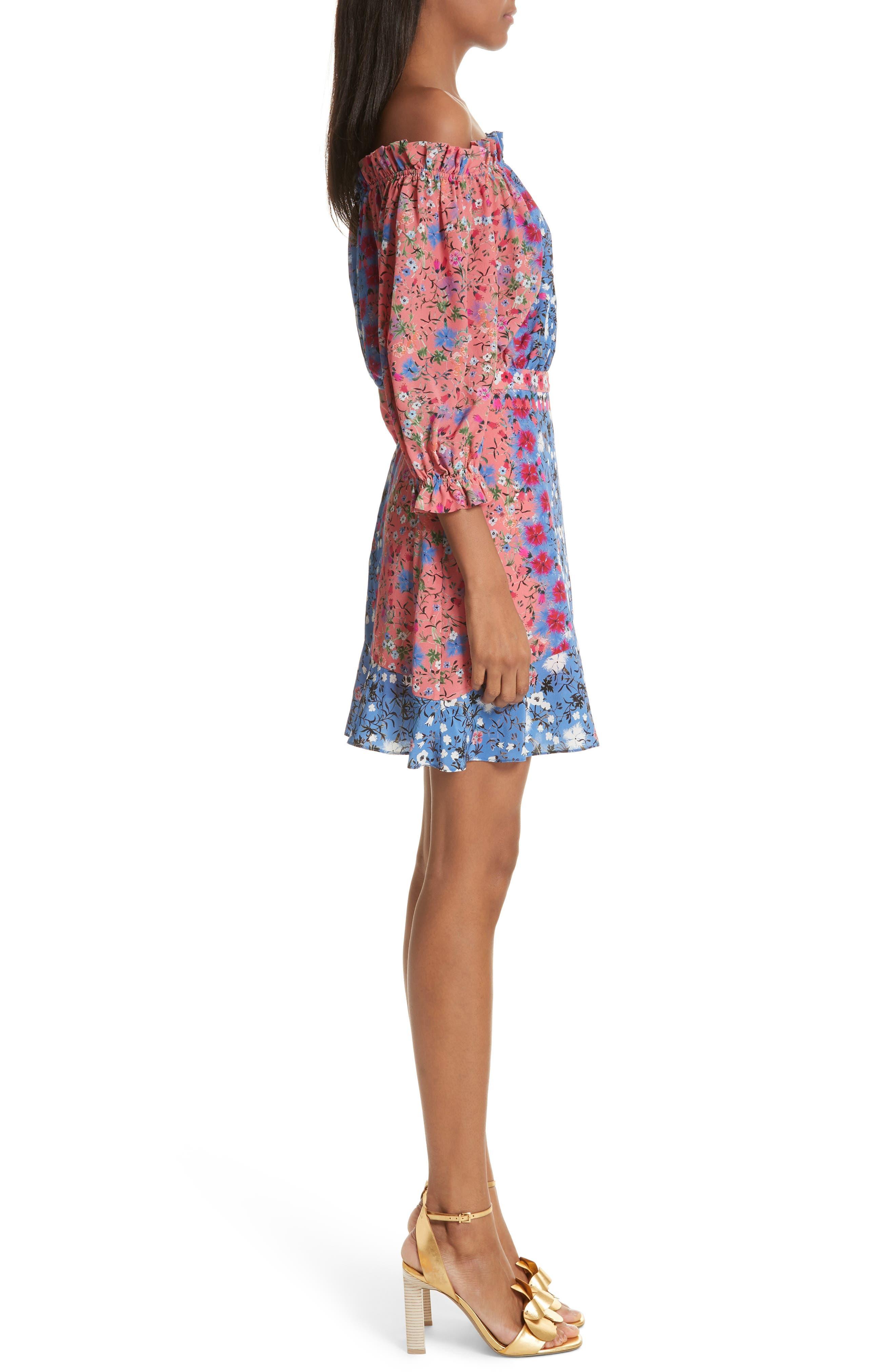 Grace Off the Shoulder Silk Dress,                             Alternate thumbnail 3, color,                             Foxglove Meadow