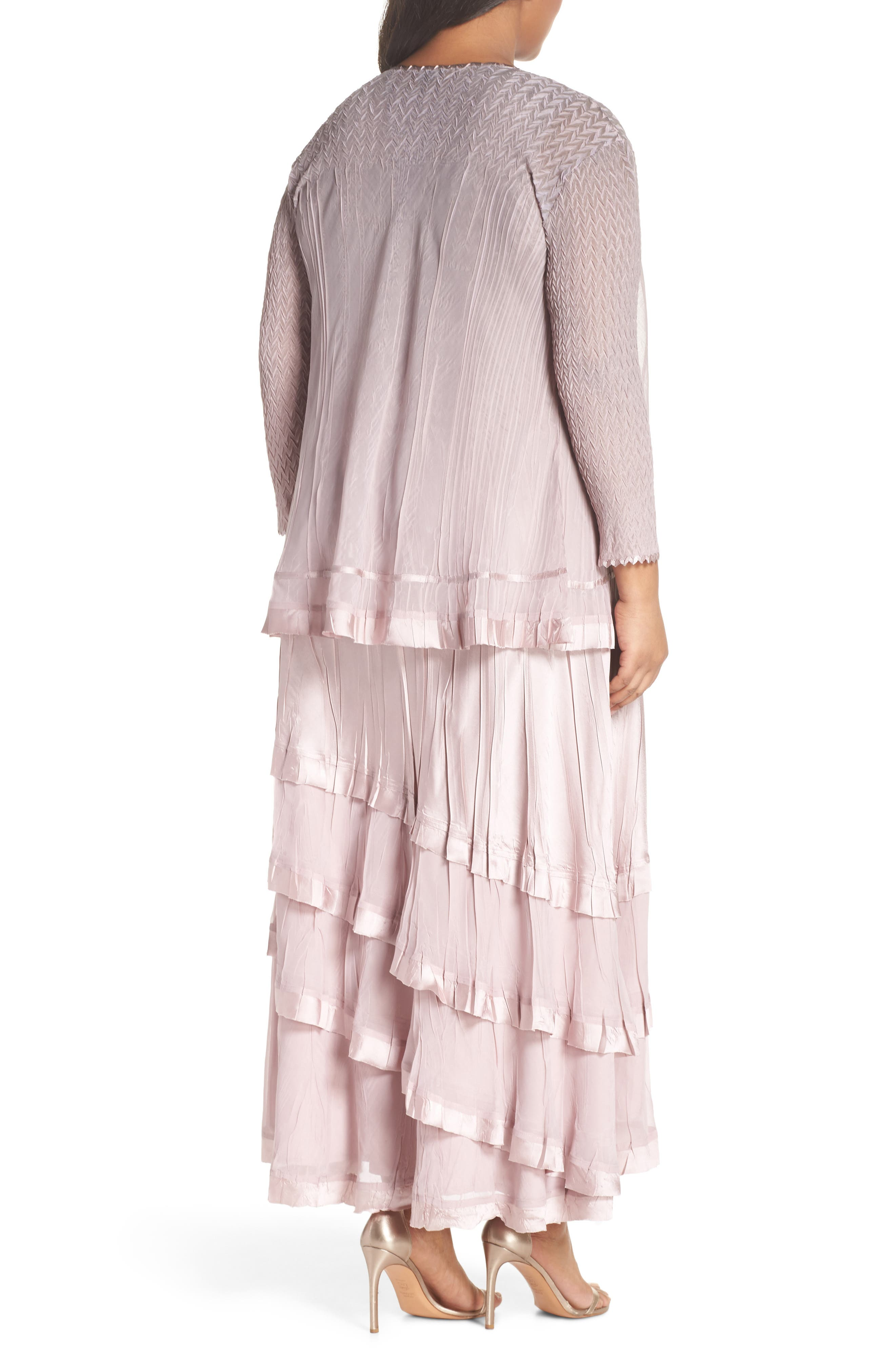 Tiered Maxi Dress with Jacket,                             Alternate thumbnail 3, color,                             Lotus Smoke Ombre