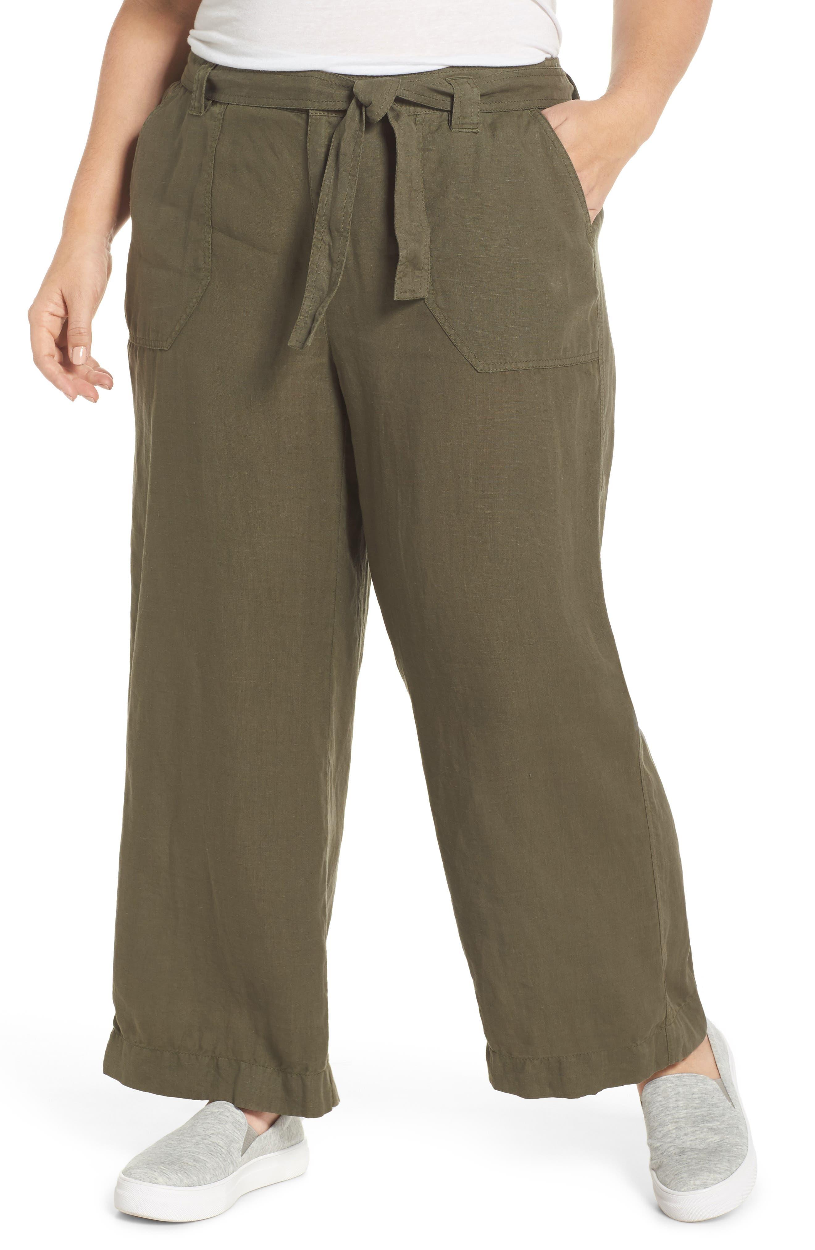 Wide Leg Crop Linen Pants,                         Main,                         color, Olive Sarma