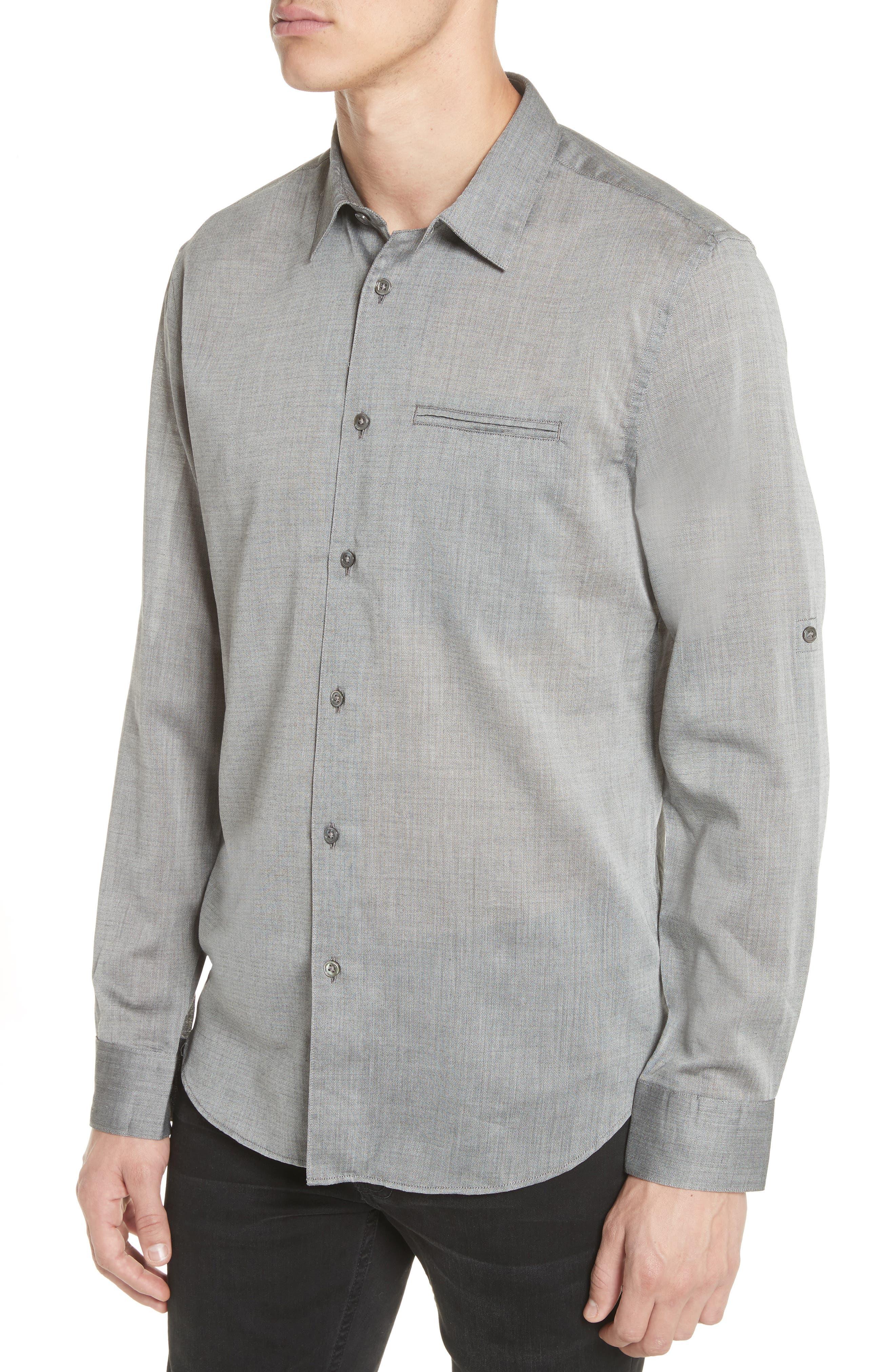 Slim Fit Roller Long Sleeve Shirt,                             Alternate thumbnail 4, color,                             Grey Hthr