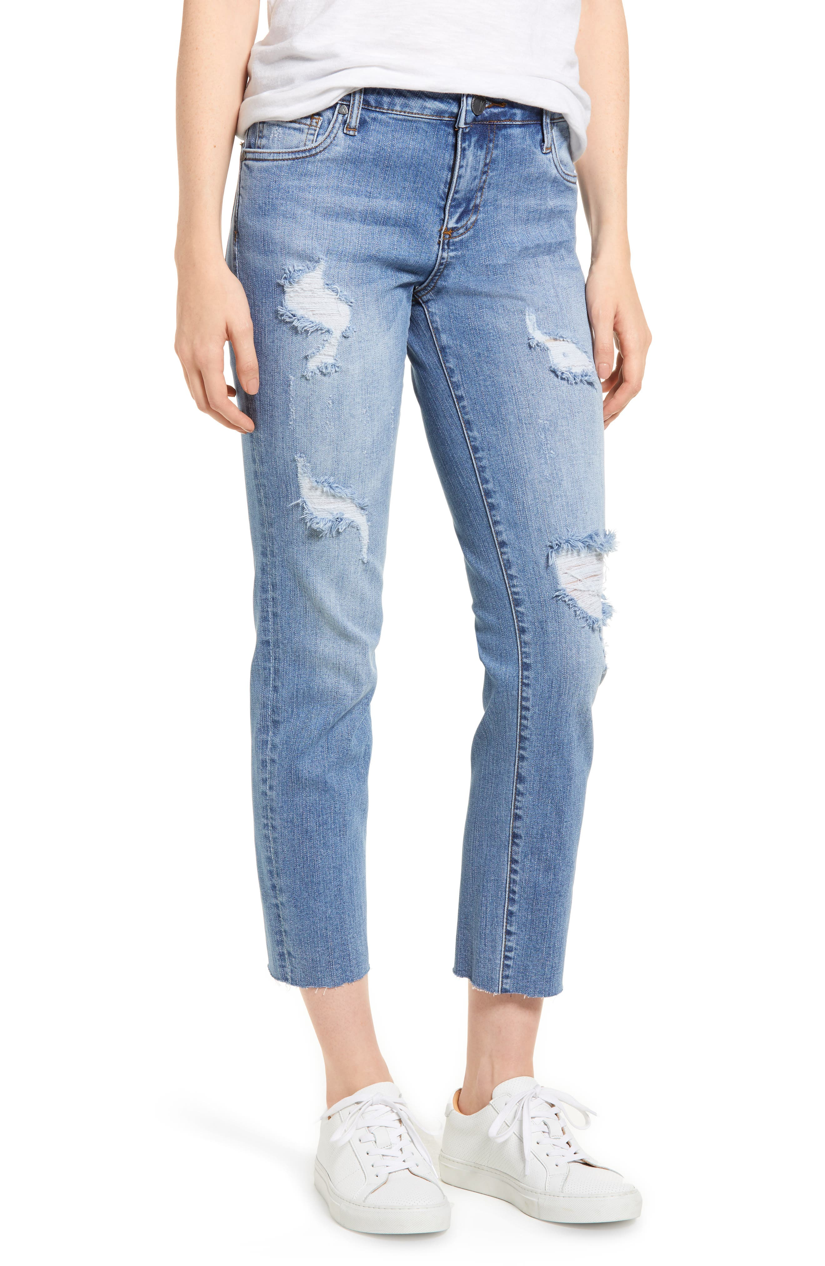 Reese Ripped Raw Edge Ankle Jeans,                         Main,                         color, Assess